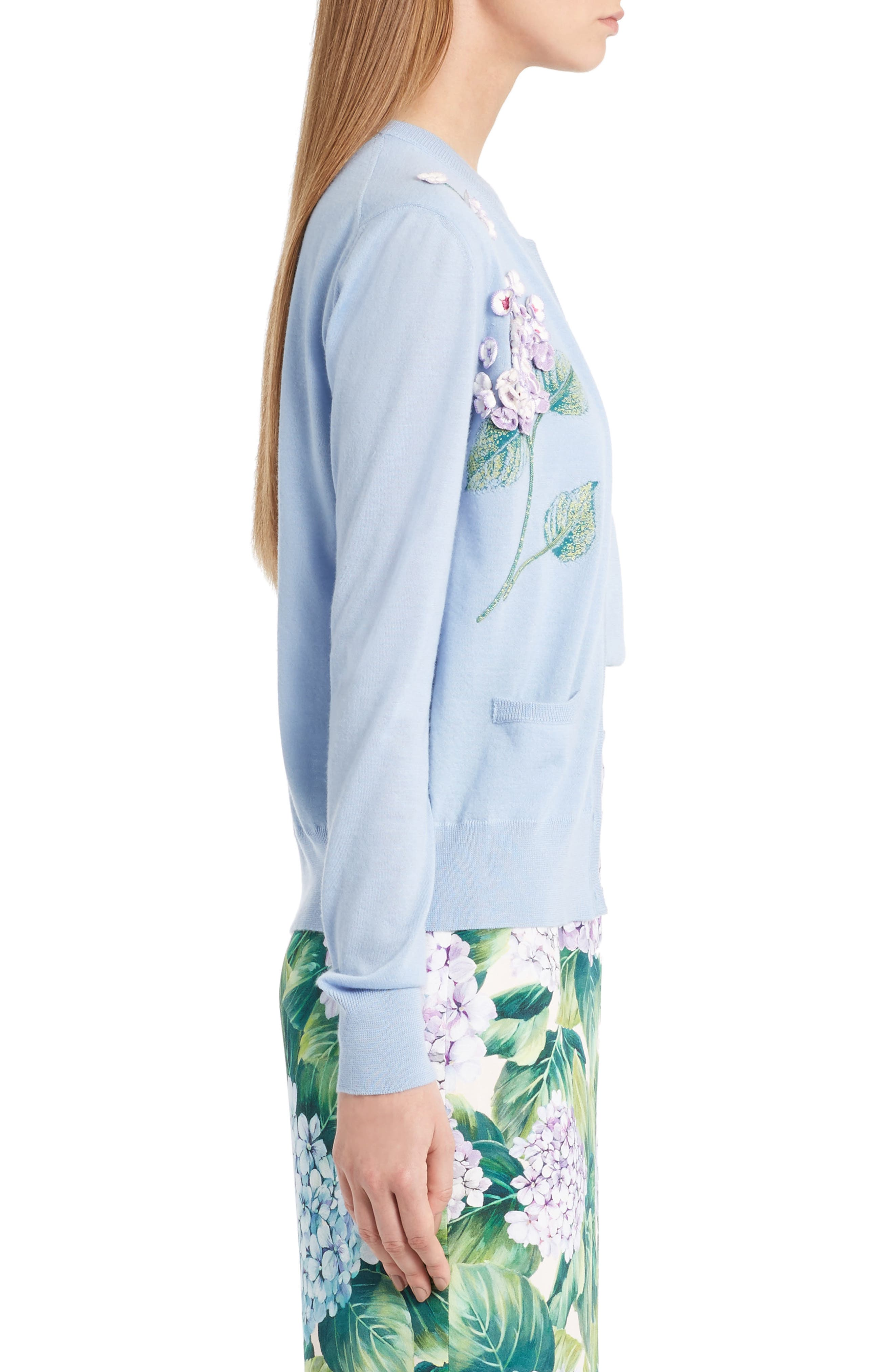 Embellished Cashmere & Silk Button Cardigan,                             Alternate thumbnail 3, color,                             450