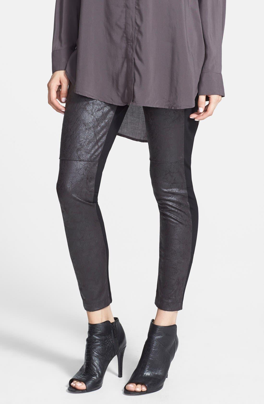 'Rue' Faux Leather & Ponte Knit Leggings,                             Main thumbnail 1, color,                             001