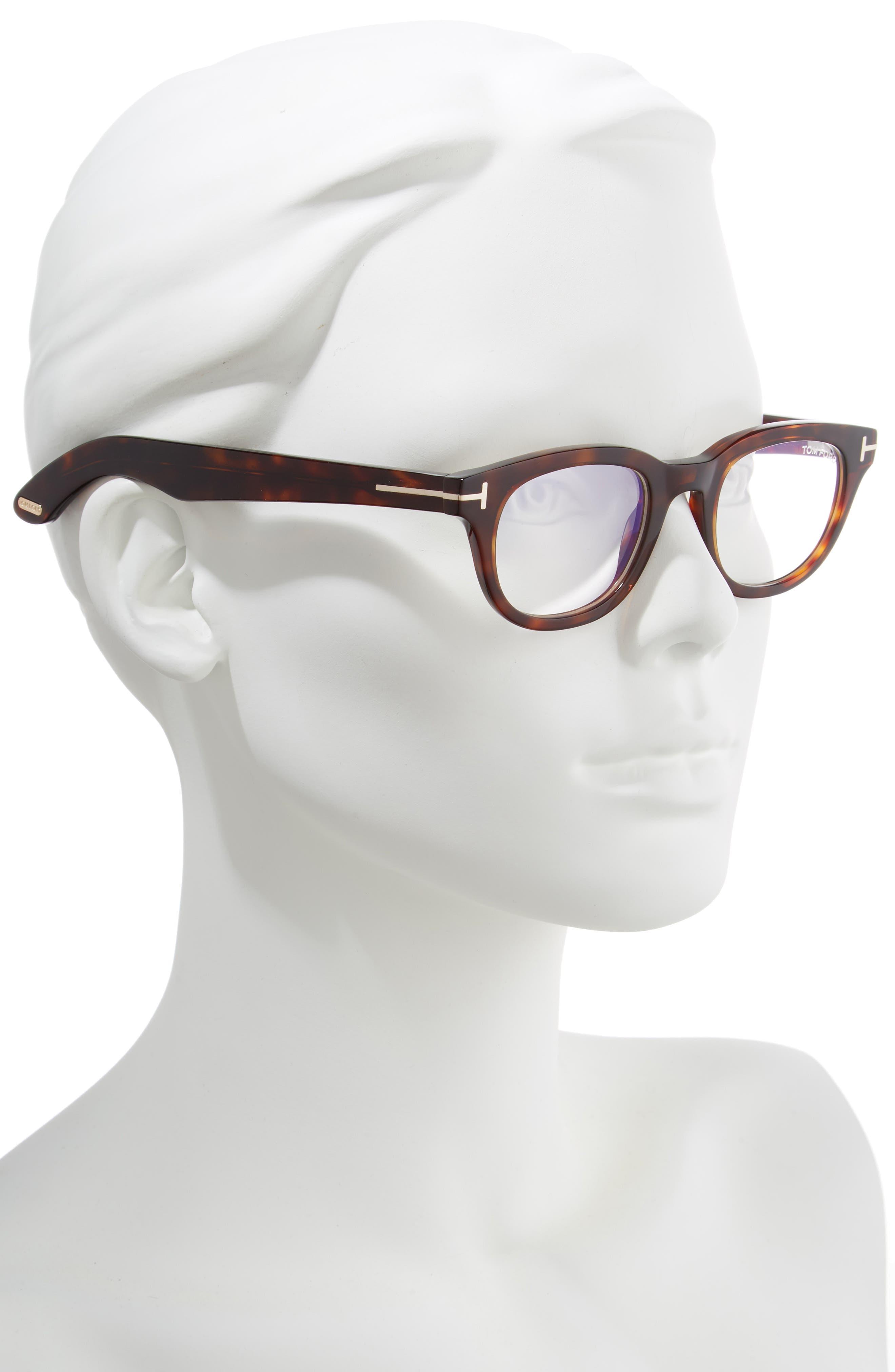 46mm Blue Light Blocking Glasses,                             Alternate thumbnail 2, color,                             SHINY DARK HAVANA/ ROSE GOLD