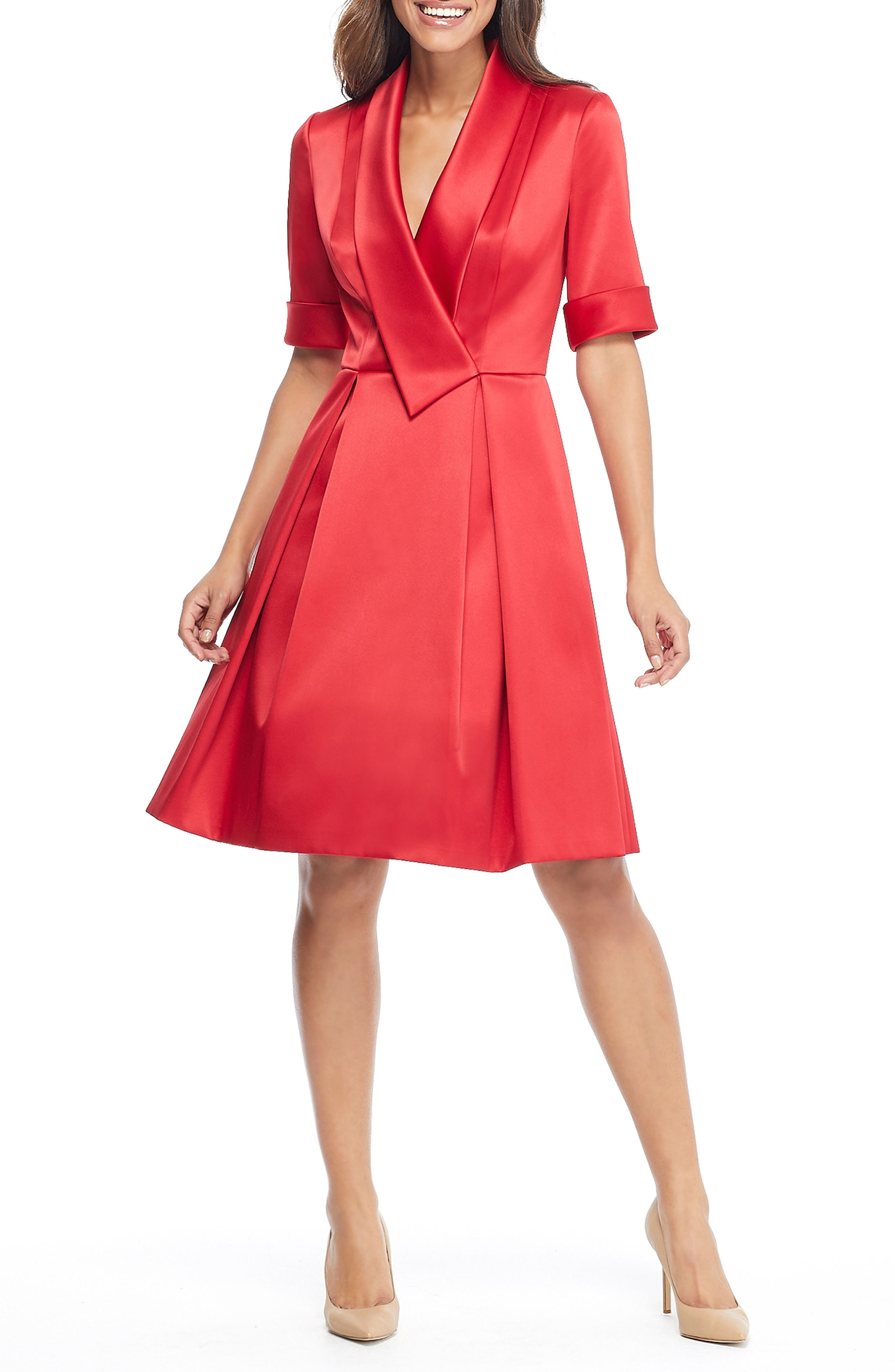 GAL MEETS GLAM COLLECTION,                             Ruby Royal Satin Asymmetrical Collar Dress,                             Alternate thumbnail 6, color,                             RUBY