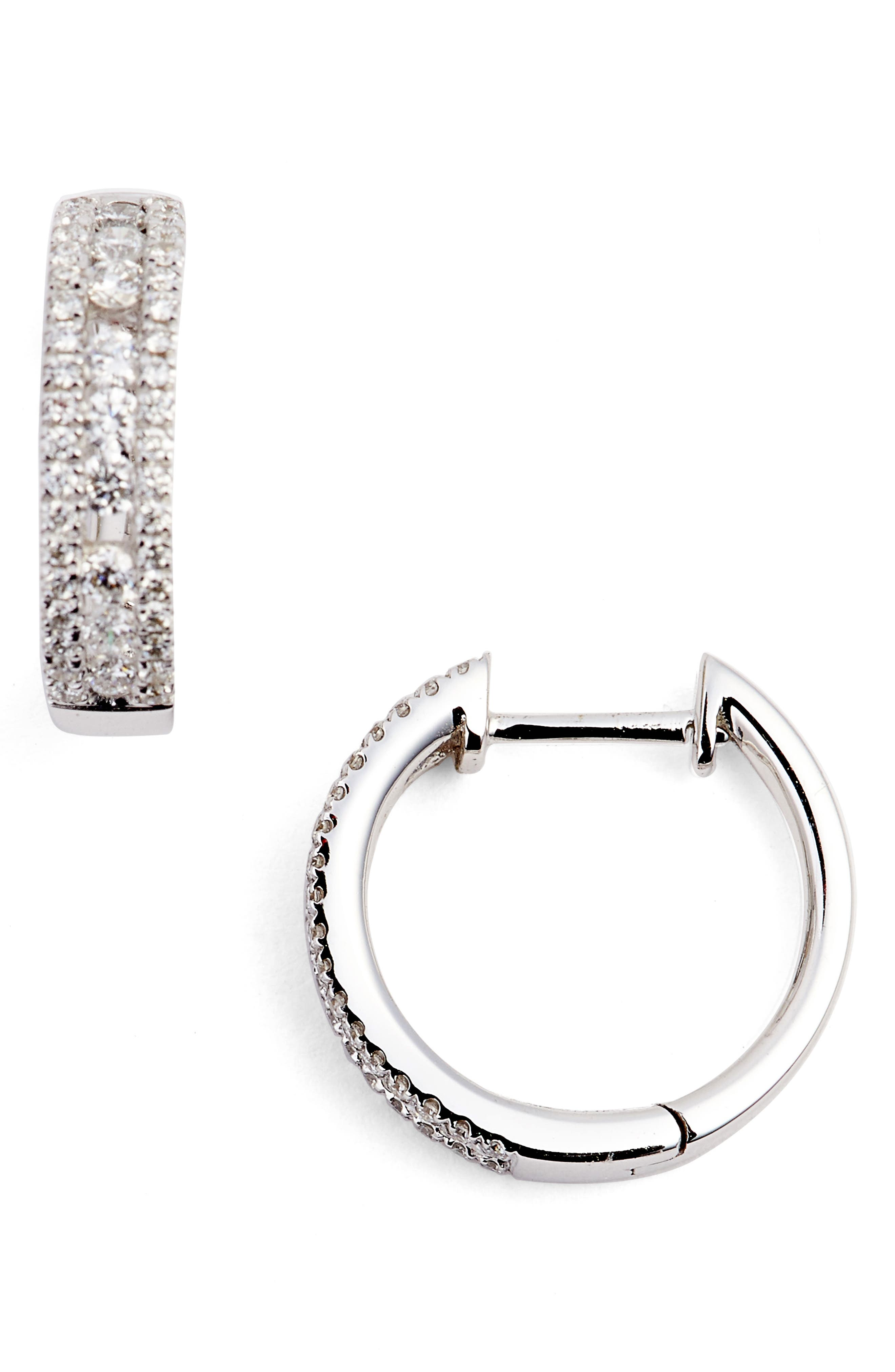 Amara Small Diamond Hoop Earrings,                         Main,                         color, WHITE GOLD