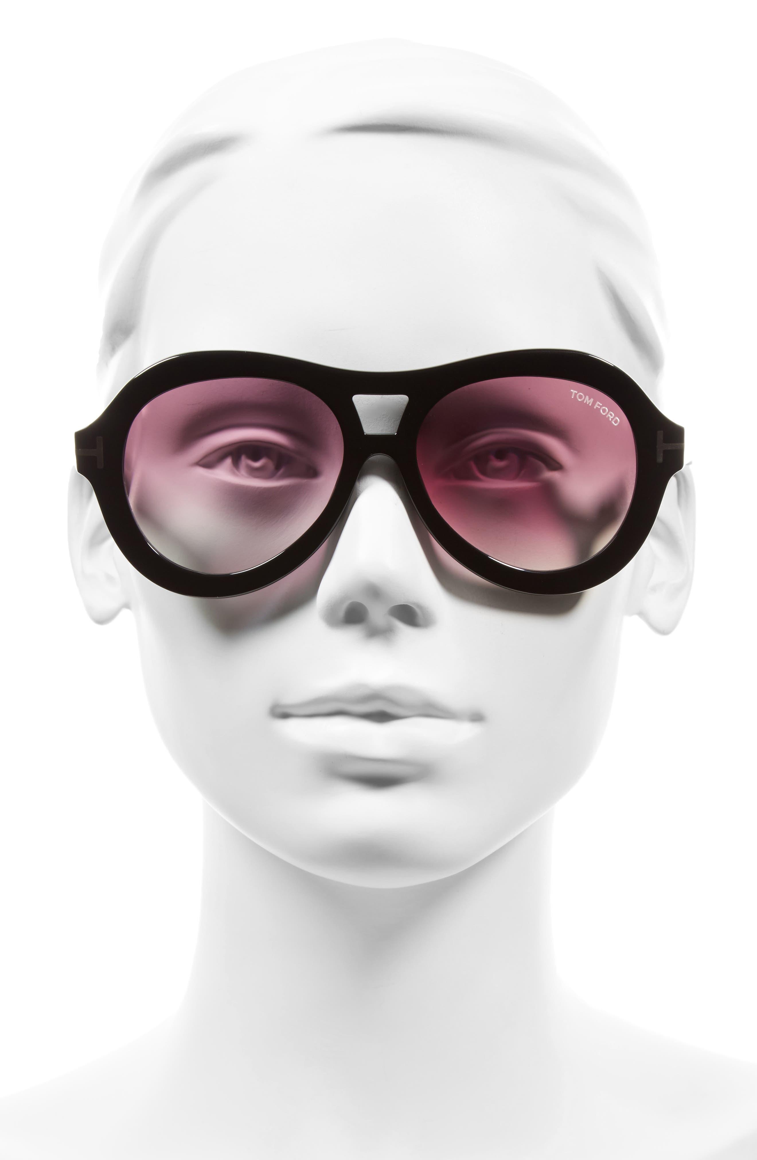 Isla 56mm Round Aviator Sunglasses,                             Alternate thumbnail 3, color,