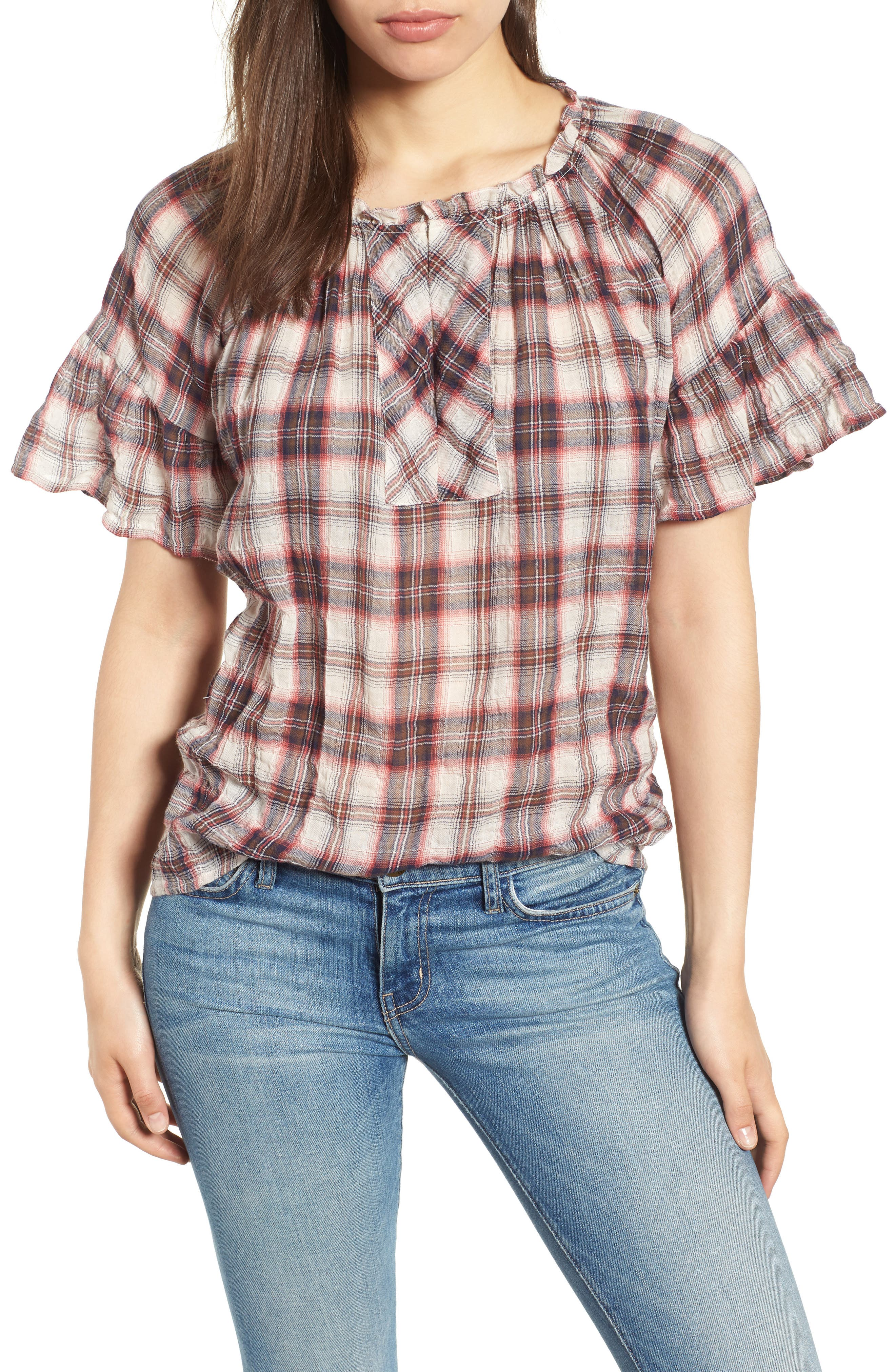 Flutter Sleeve Plaid Top,                             Main thumbnail 1, color,                             623
