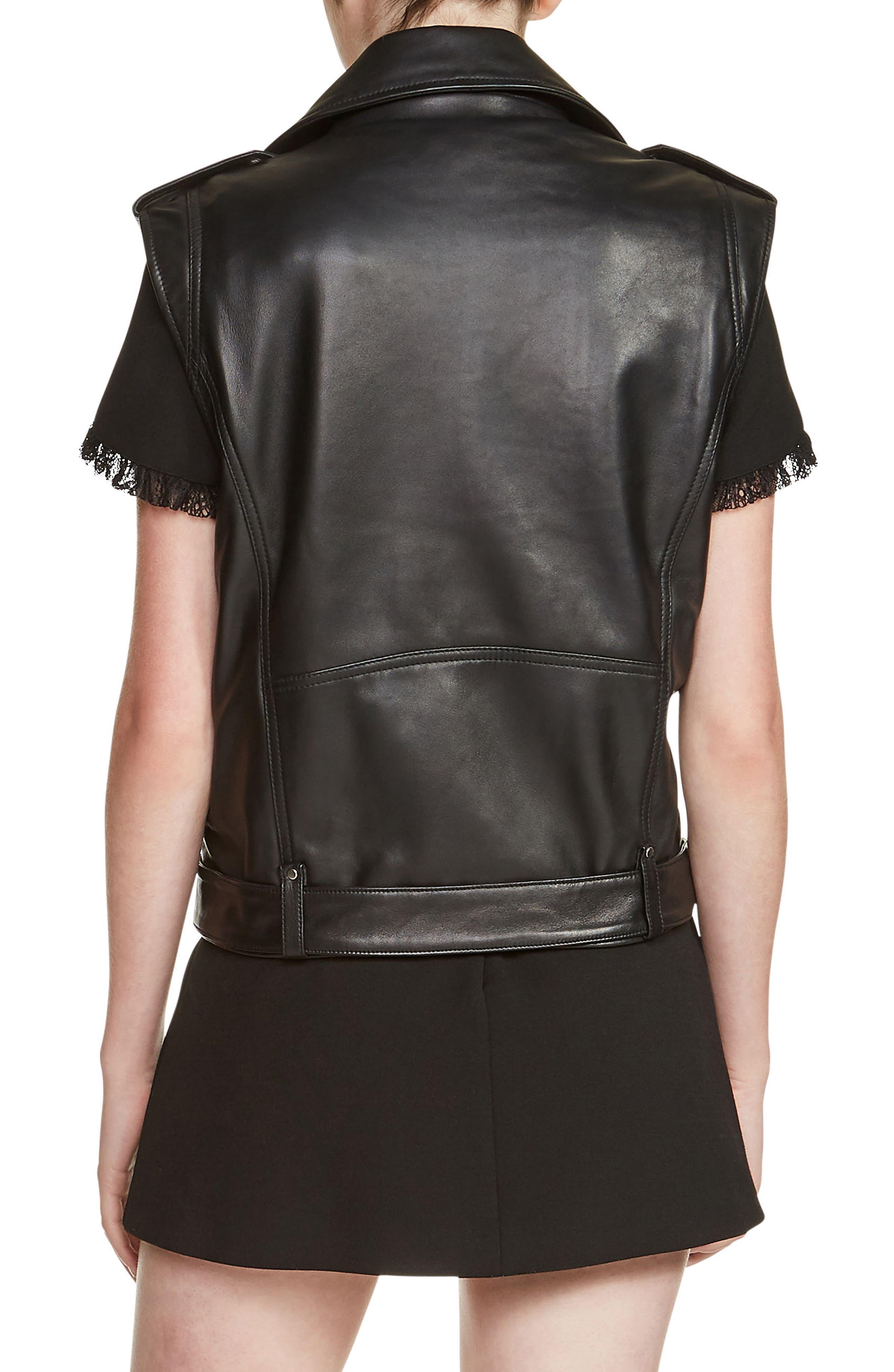 Leather Moto Vest,                             Alternate thumbnail 2, color,                             001