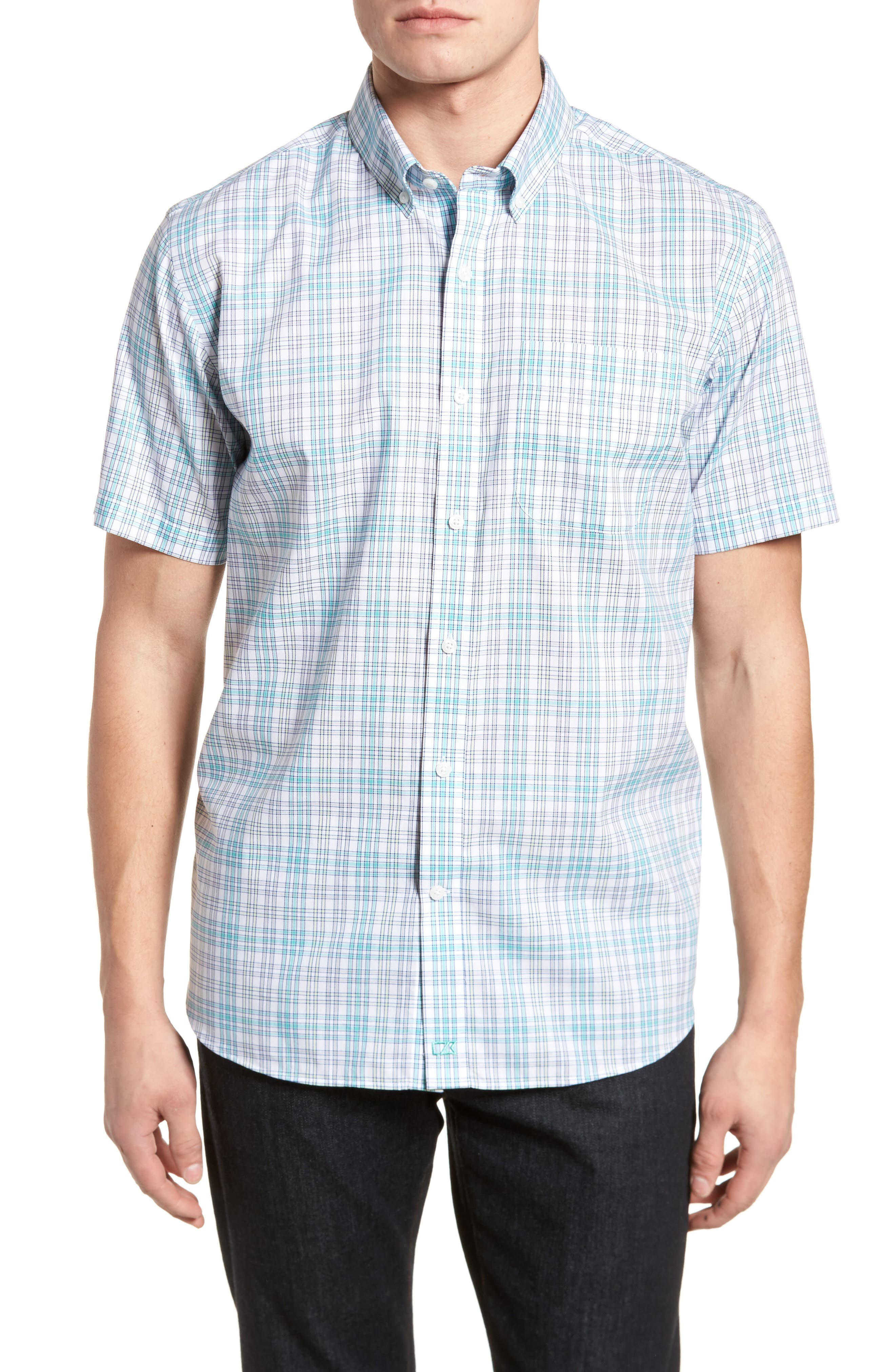 Isaac Plaid Easy Care Woven Shirt,                         Main,                         color, 328