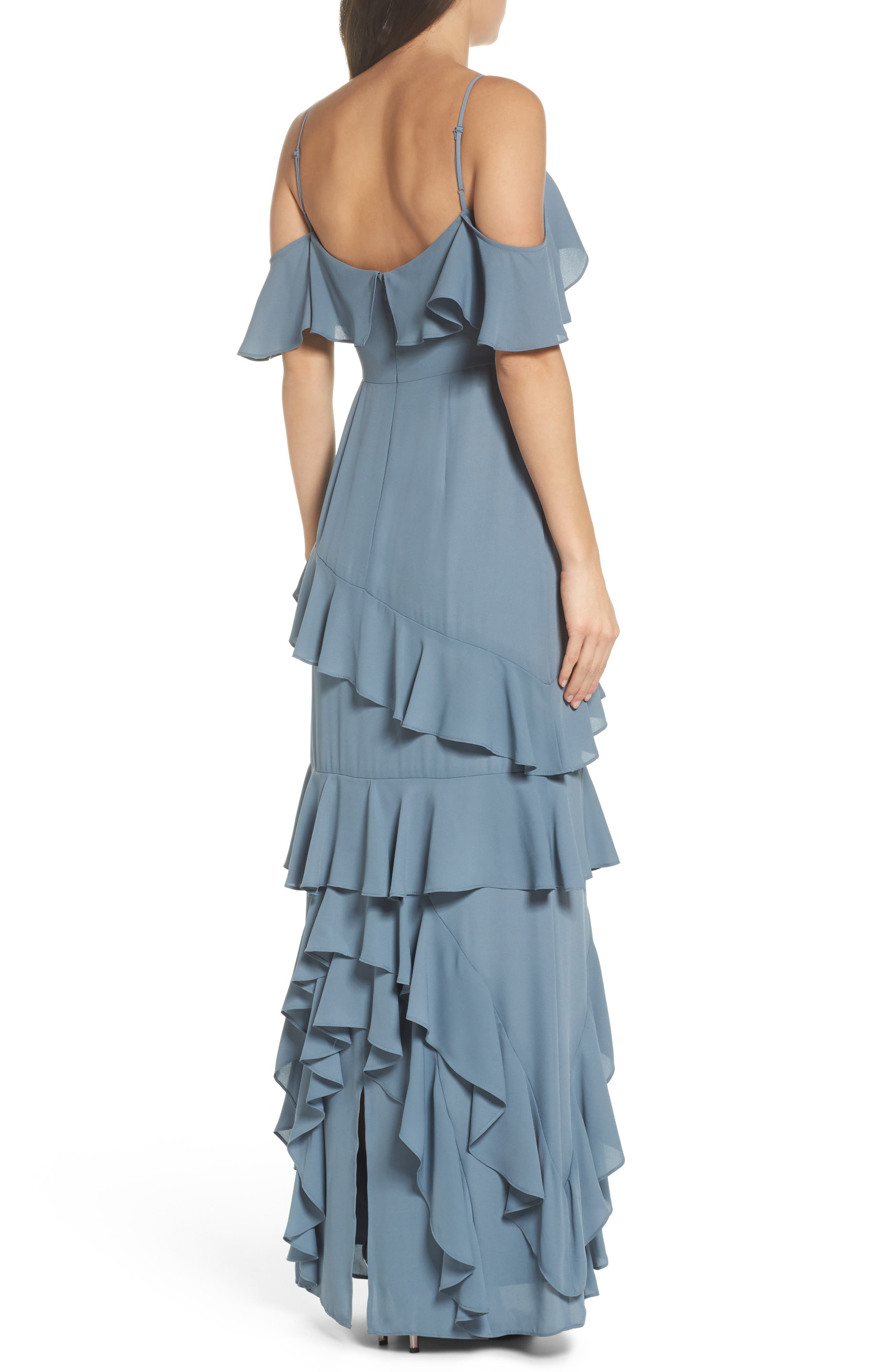 Danielle Off the Shoulder Tiered Crepe Dress,                             Alternate thumbnail 2, color,                             020