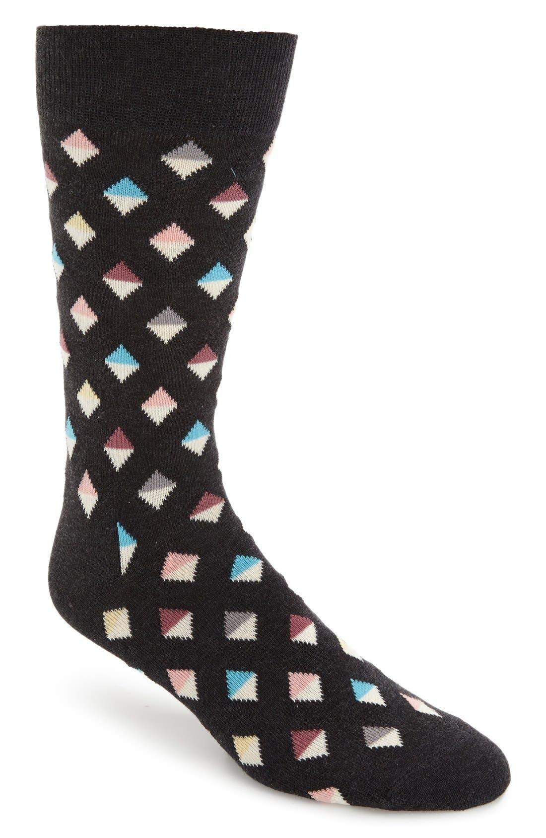 Mini Diamond Cotton Blend Socks,                             Main thumbnail 1, color,                             003