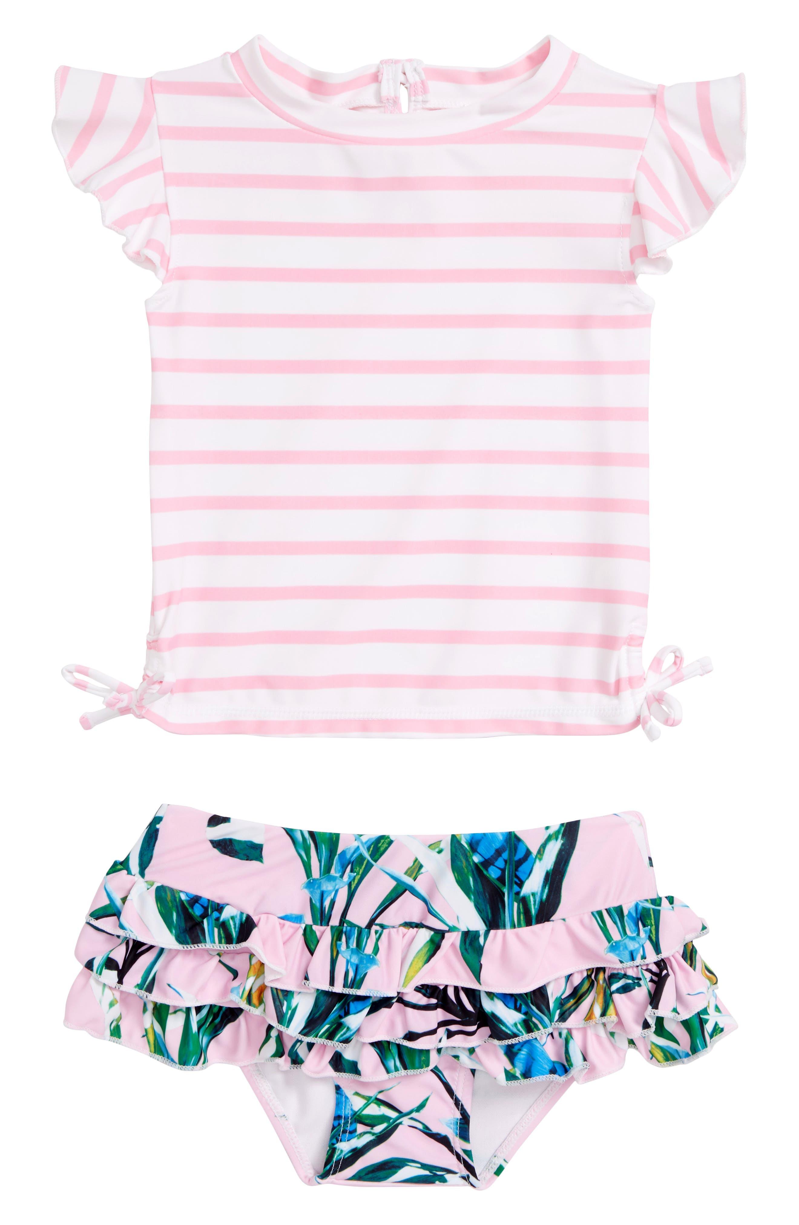 Royale Palm Two-Piece Rashguard Swimsuit,                             Main thumbnail 1, color,                             PINK