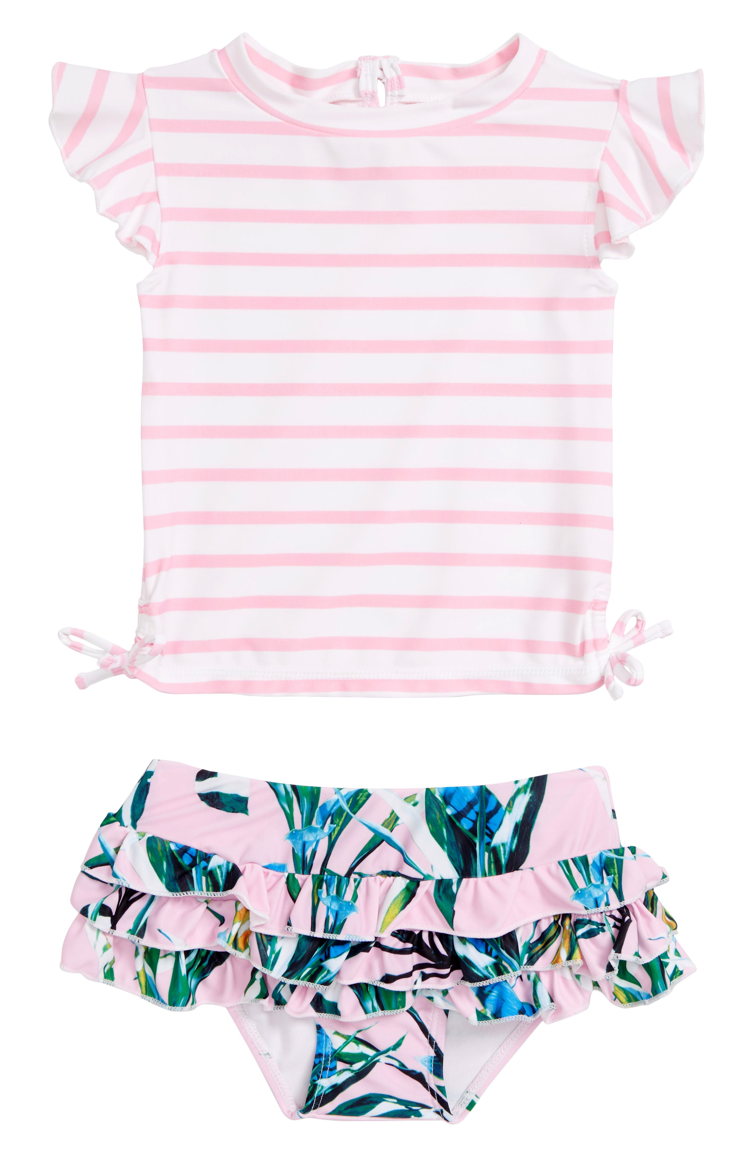 Royale Palm Two-Piece Rashguard Swimsuit, Main, color, PINK