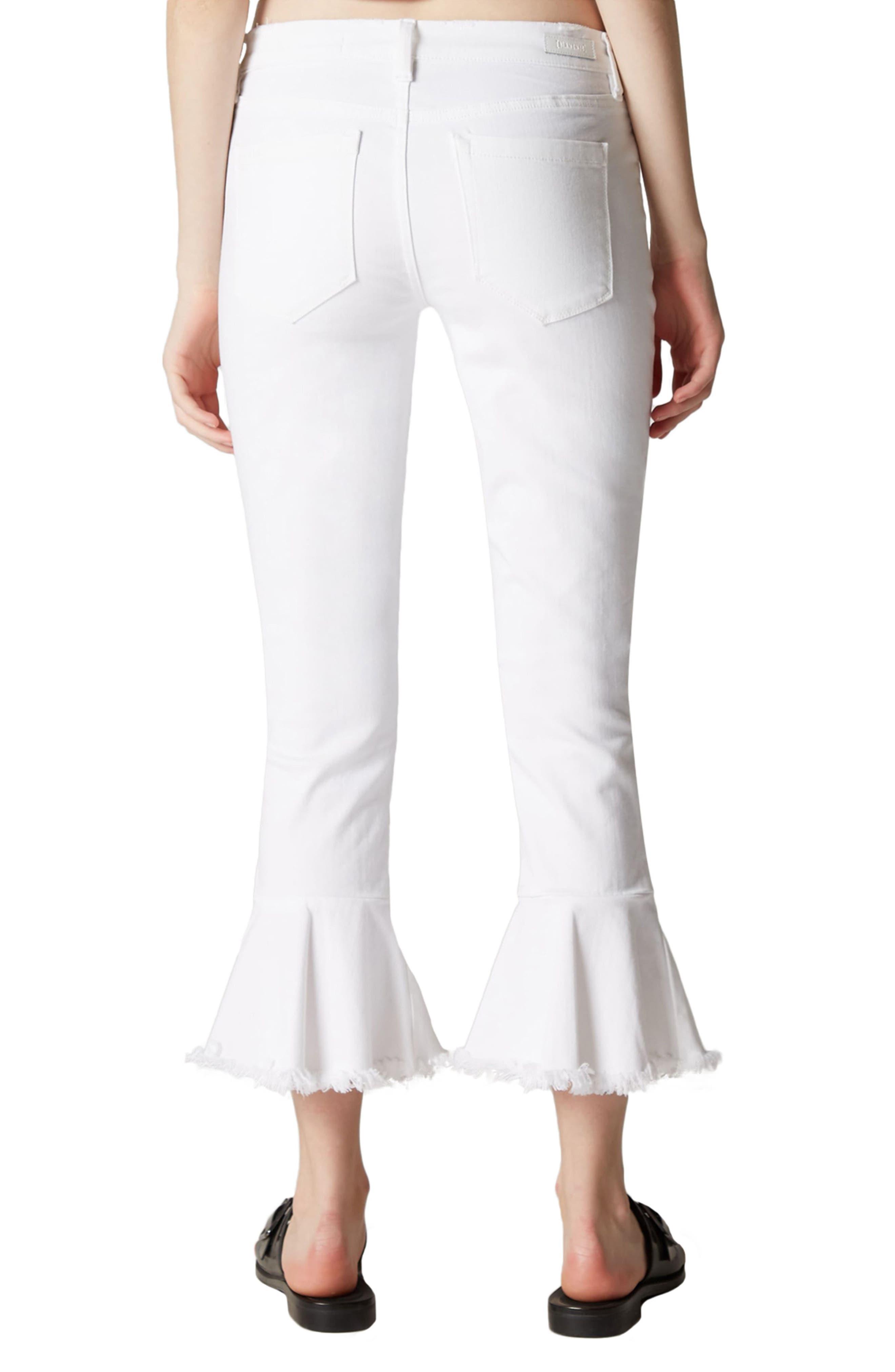 Great White Ruffle Hem Jeans,                             Alternate thumbnail 2, color,                             100