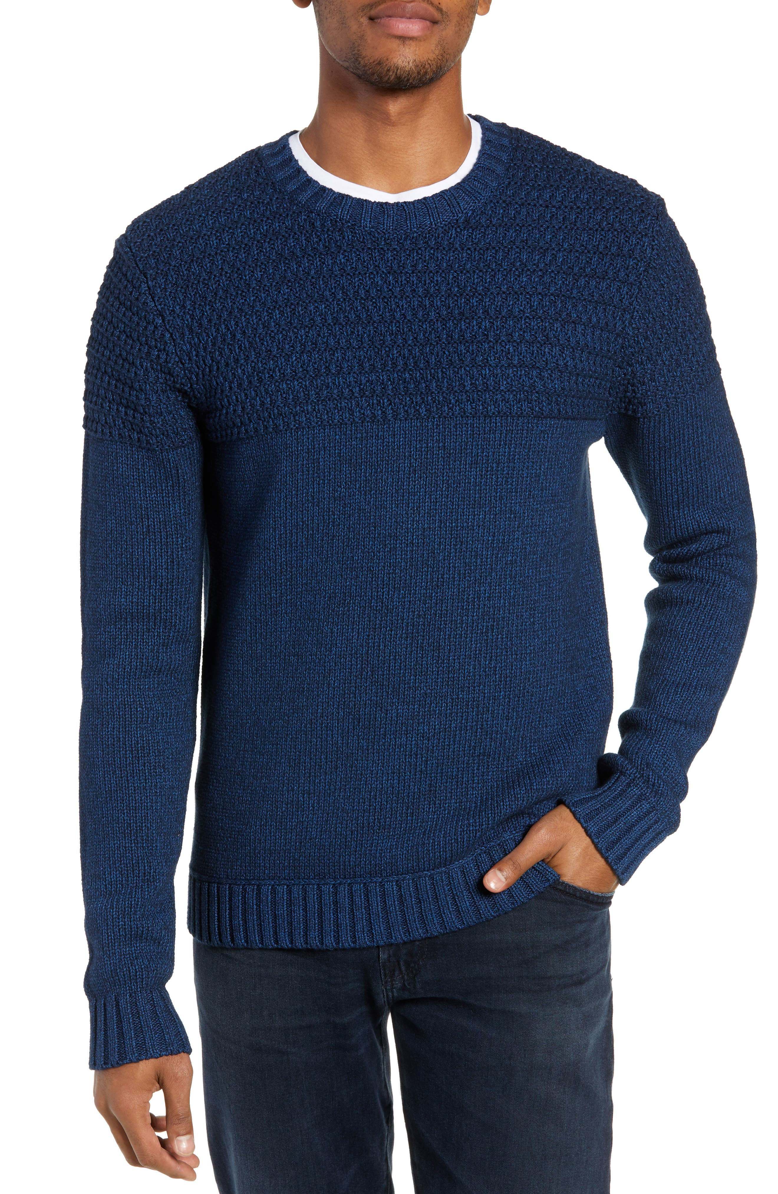 TODD SNYDER Regular Fit Textured Sweater in Royal Blue