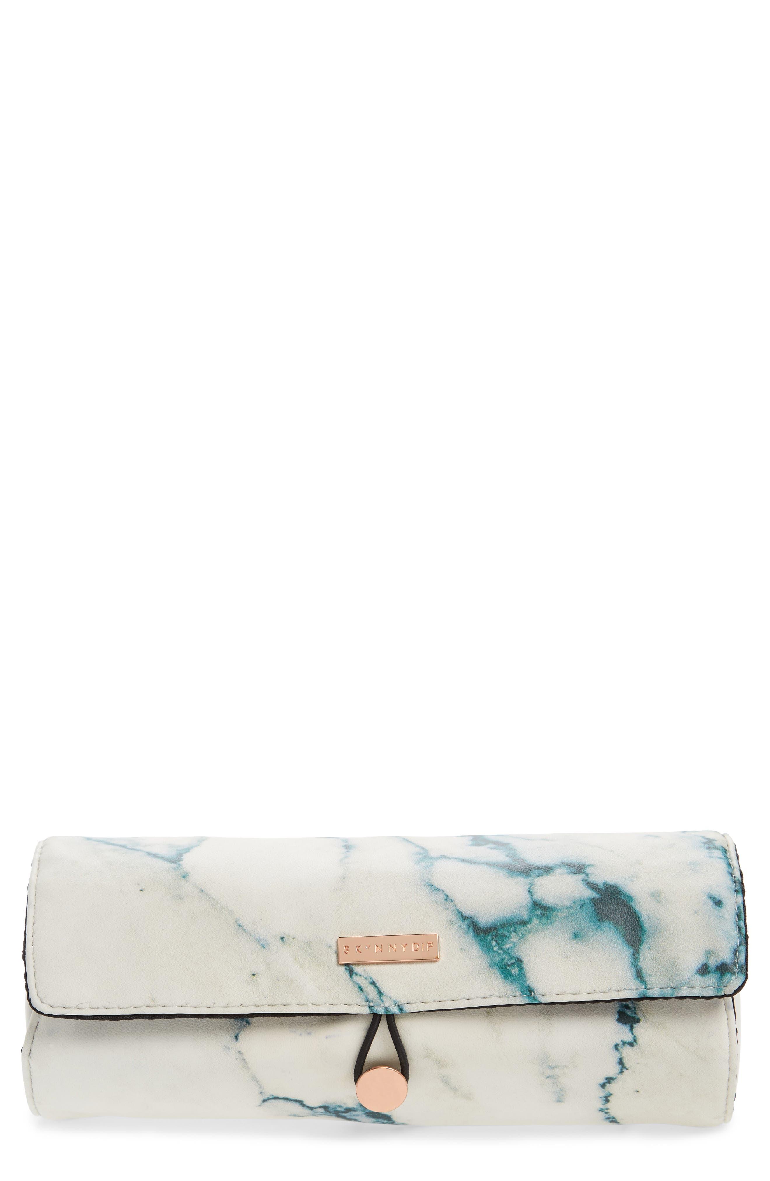 Skinny Dip Marble Print Brush Roll,                         Main,                         color, 000