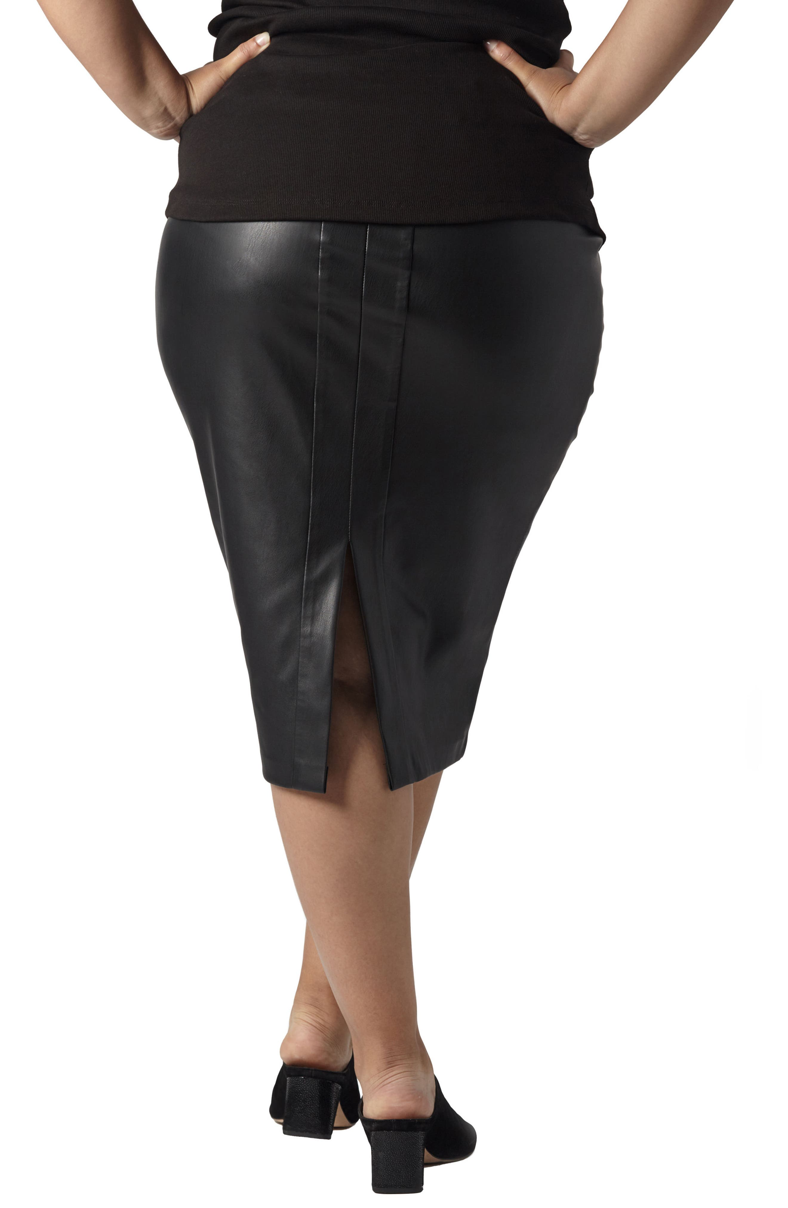 Sillaro Faux Leather Pencil Skirt,                             Alternate thumbnail 2, color,                             001