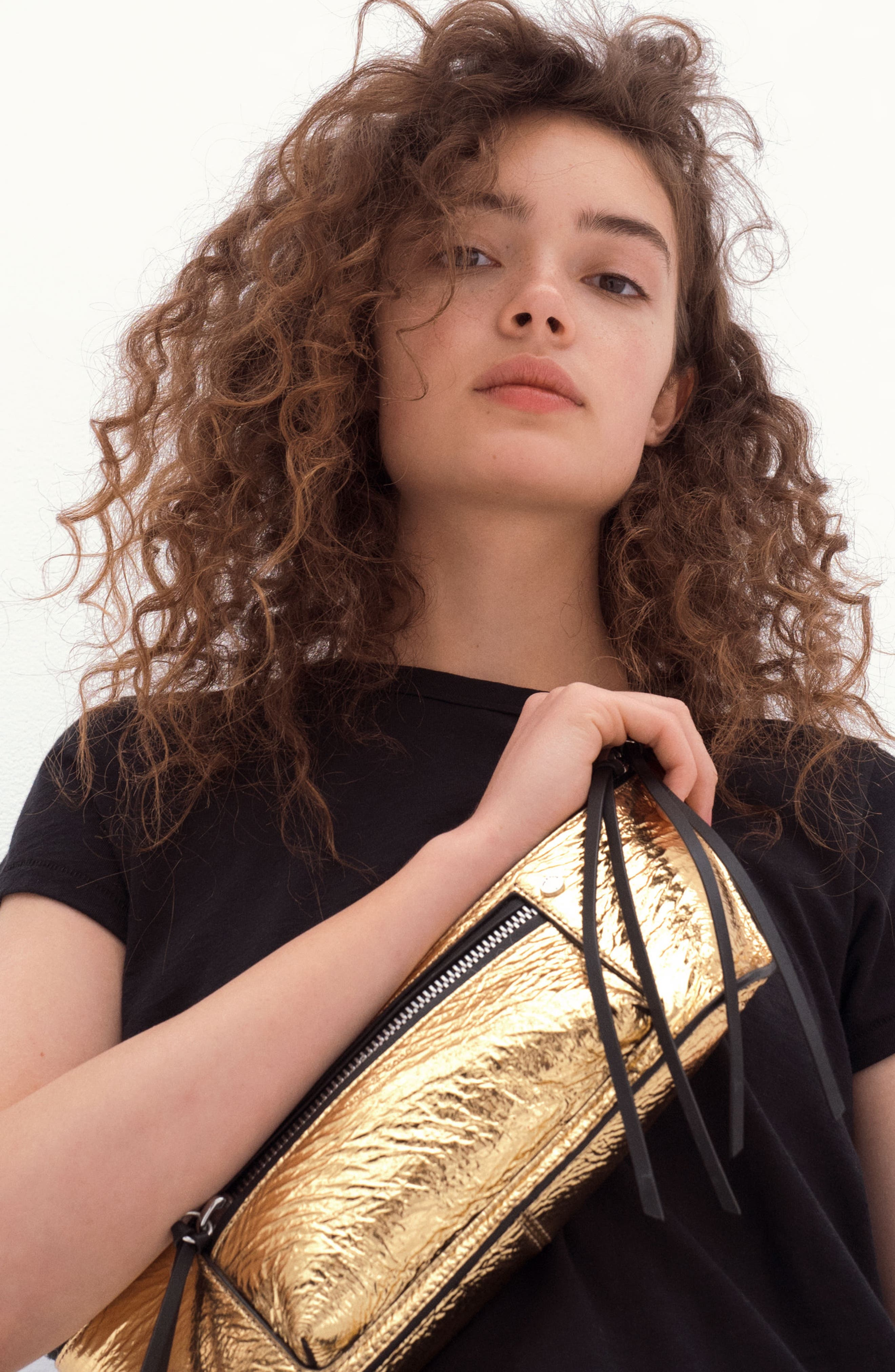 Small Elliot Leather Fanny Pack,                             Alternate thumbnail 9, color,                             GOLD