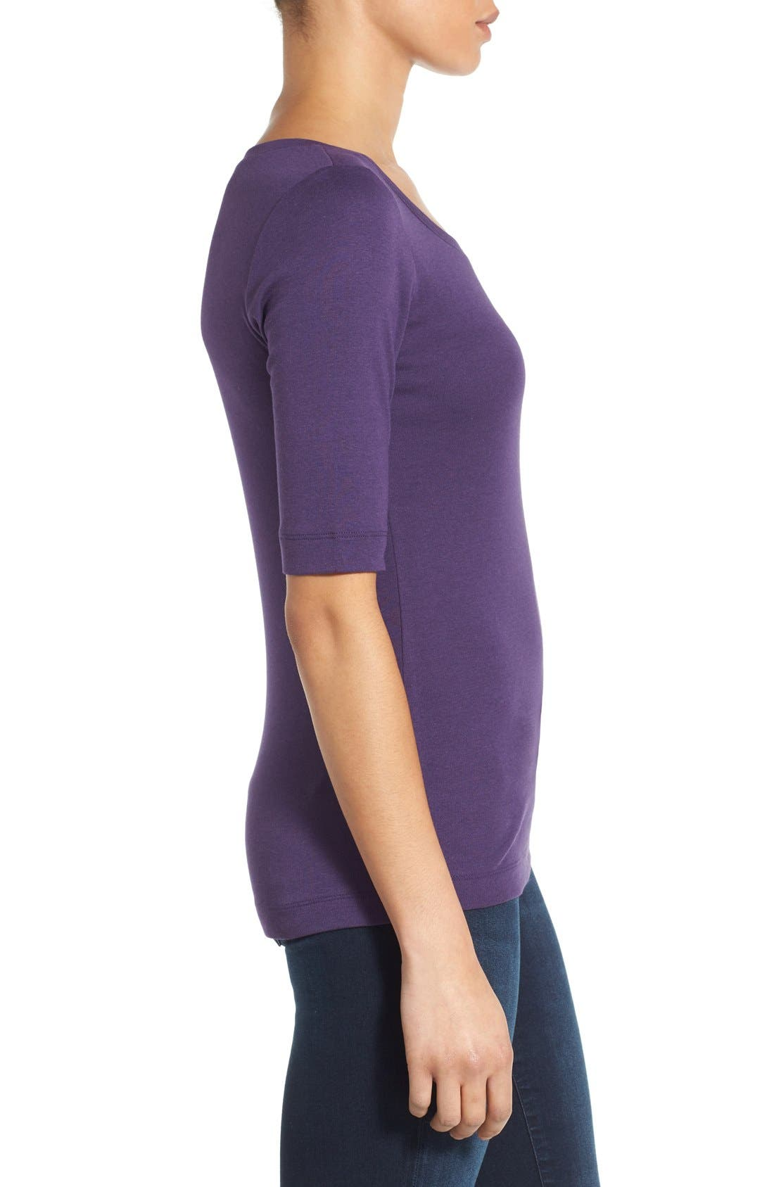Ballet Neck Cotton & Modal Knit Elbow Sleeve Tee,                             Alternate thumbnail 146, color,