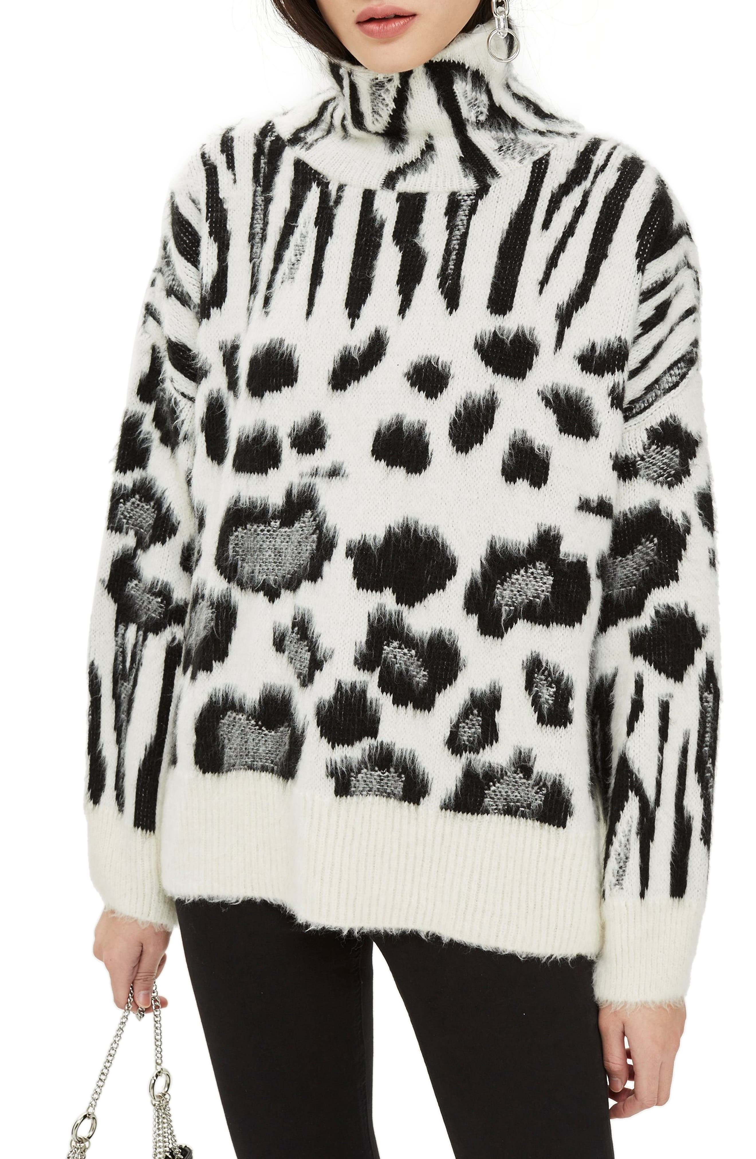 Zebra Mix Turtleneck Sweater,                         Main,                         color, BLACK MULTI