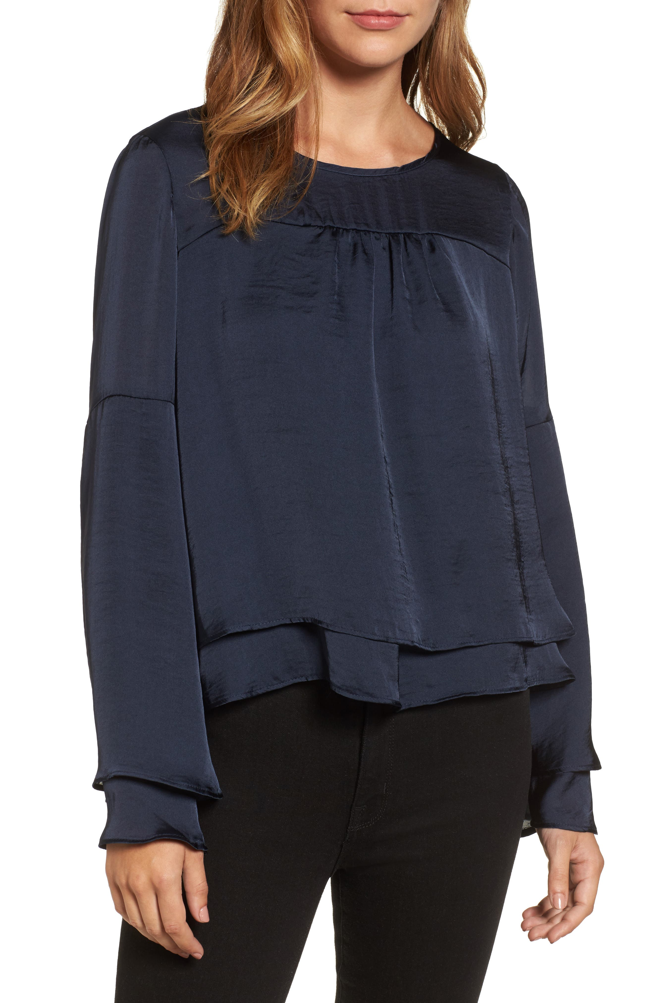 Bell Sleeve Hammered Satin Blouse,                             Main thumbnail 2, color,