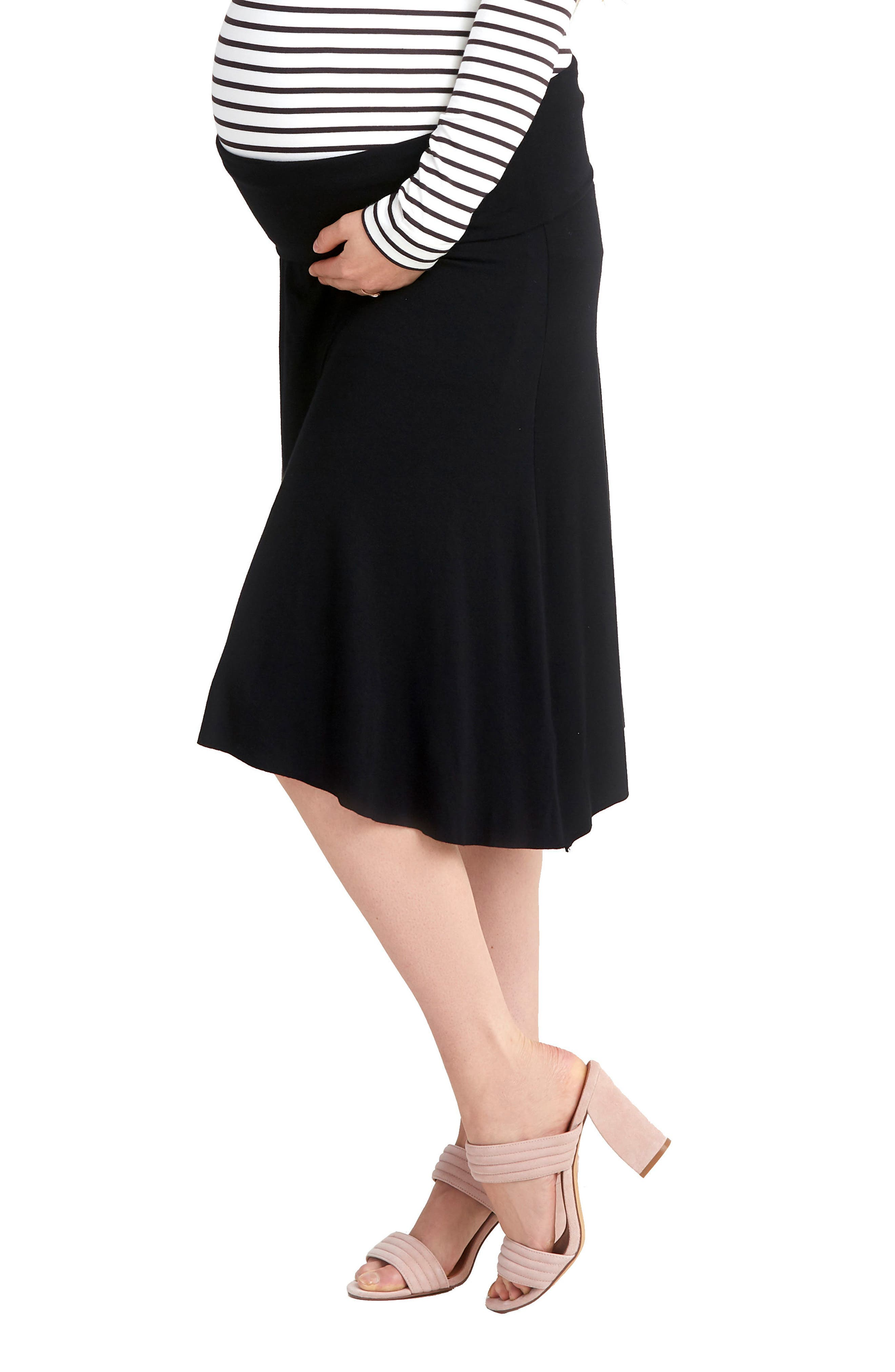 NOM Nola Maternity Skirt,                             Alternate thumbnail 3, color,                             BLACK