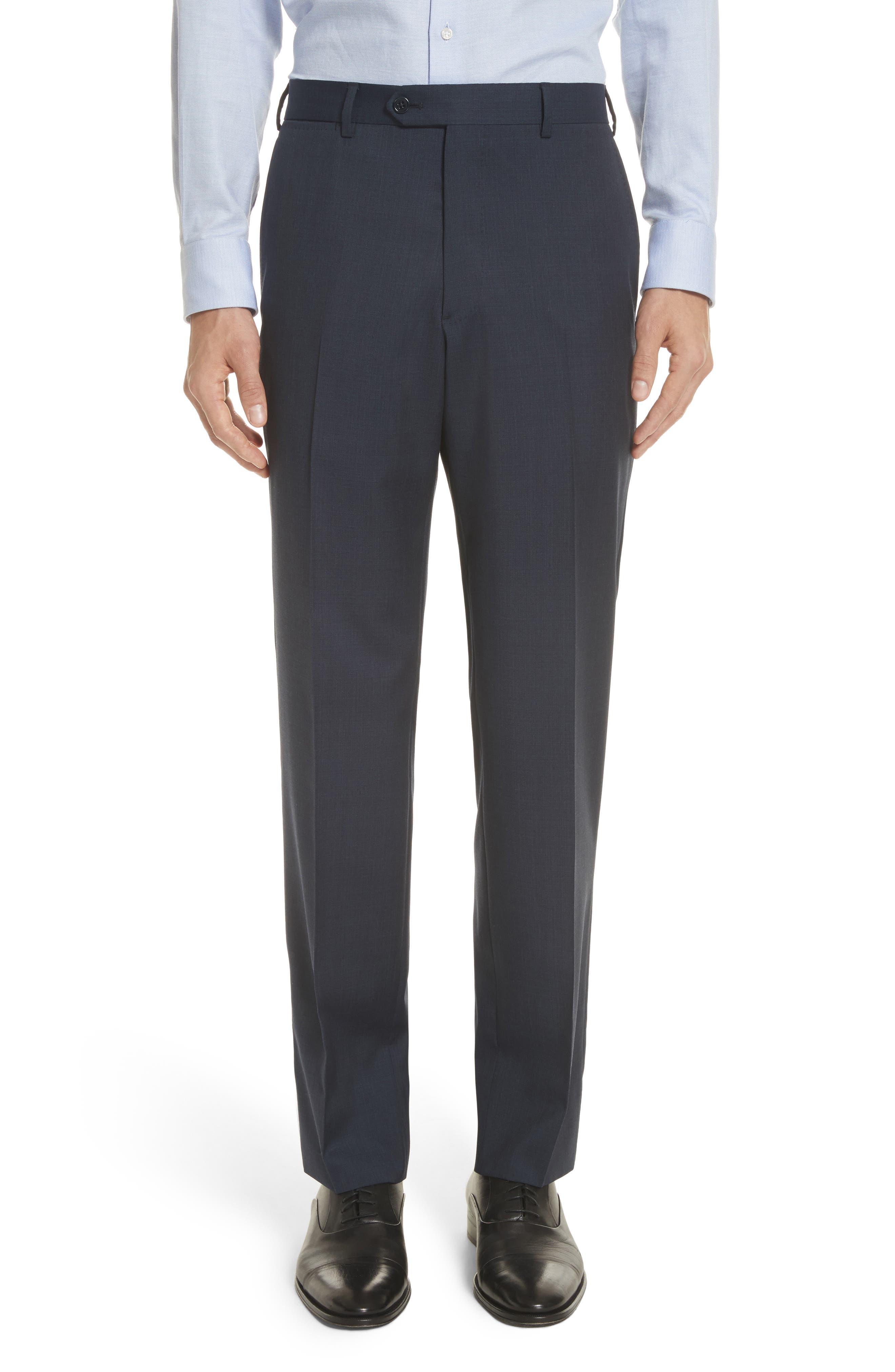 Trim Fit Sharkskin Wool Suit,                             Alternate thumbnail 12, color,