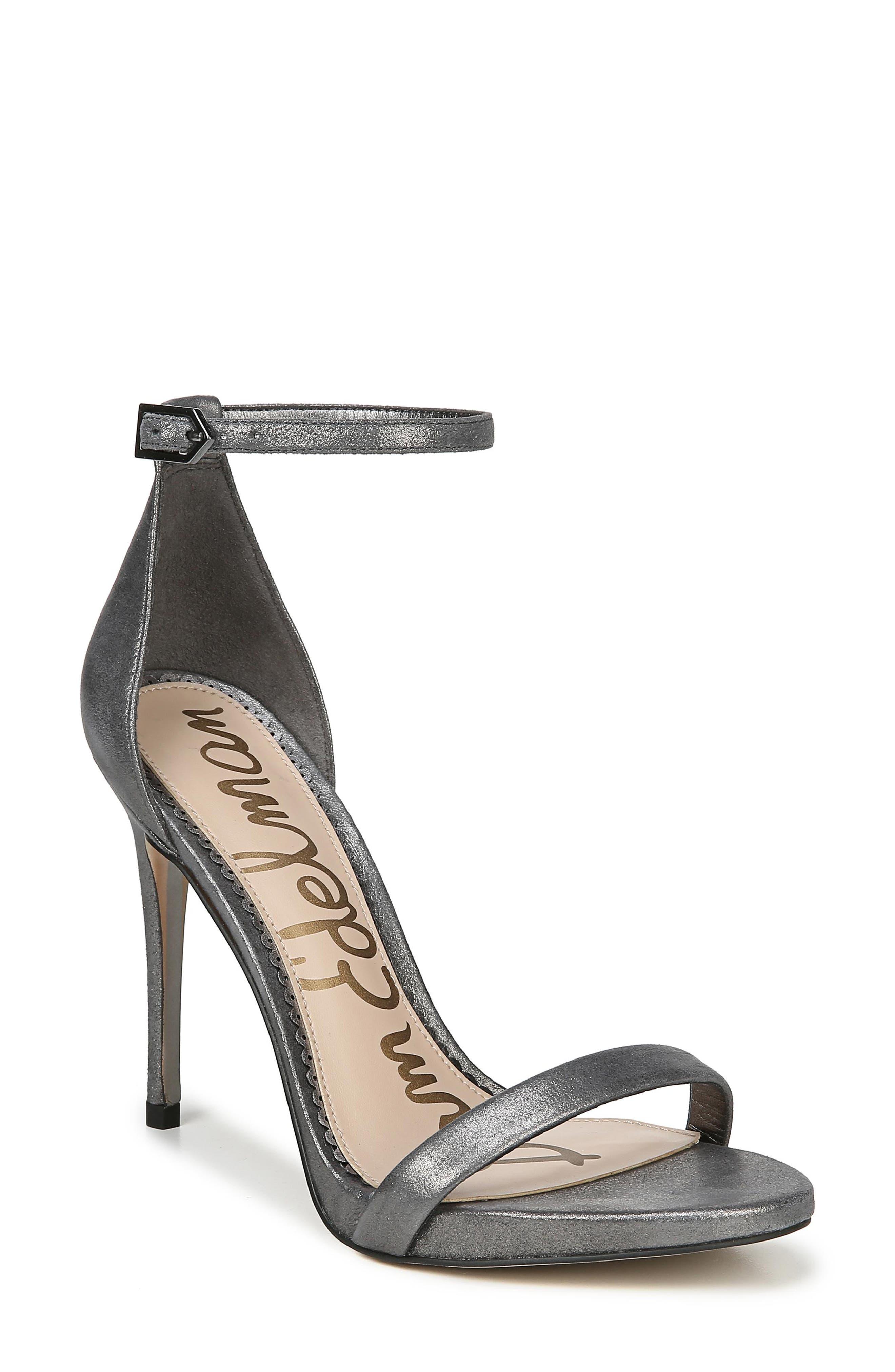 SAM EDELMAN Ariella Metallic Leather Sandals in Dark Pewter Leather