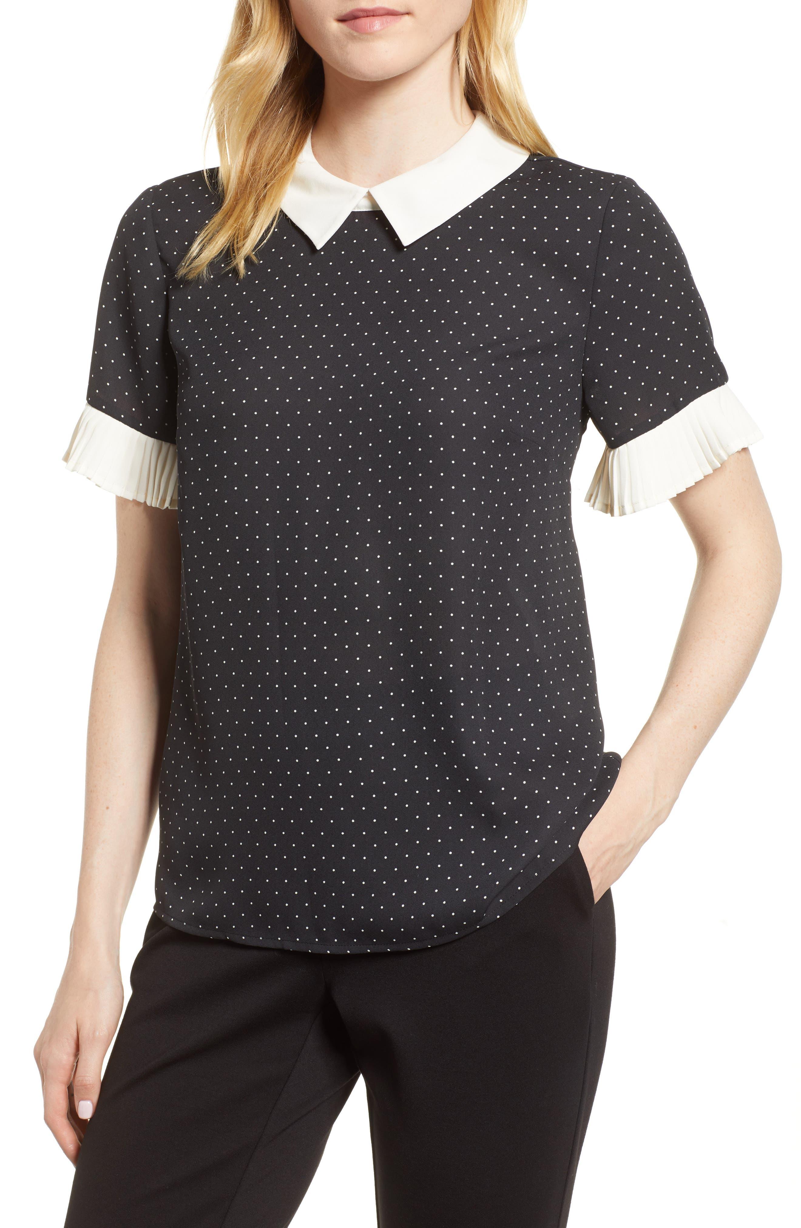 Pleat Sleeve Polka Dot Blouse,                         Main,                         color, RICH BLACK