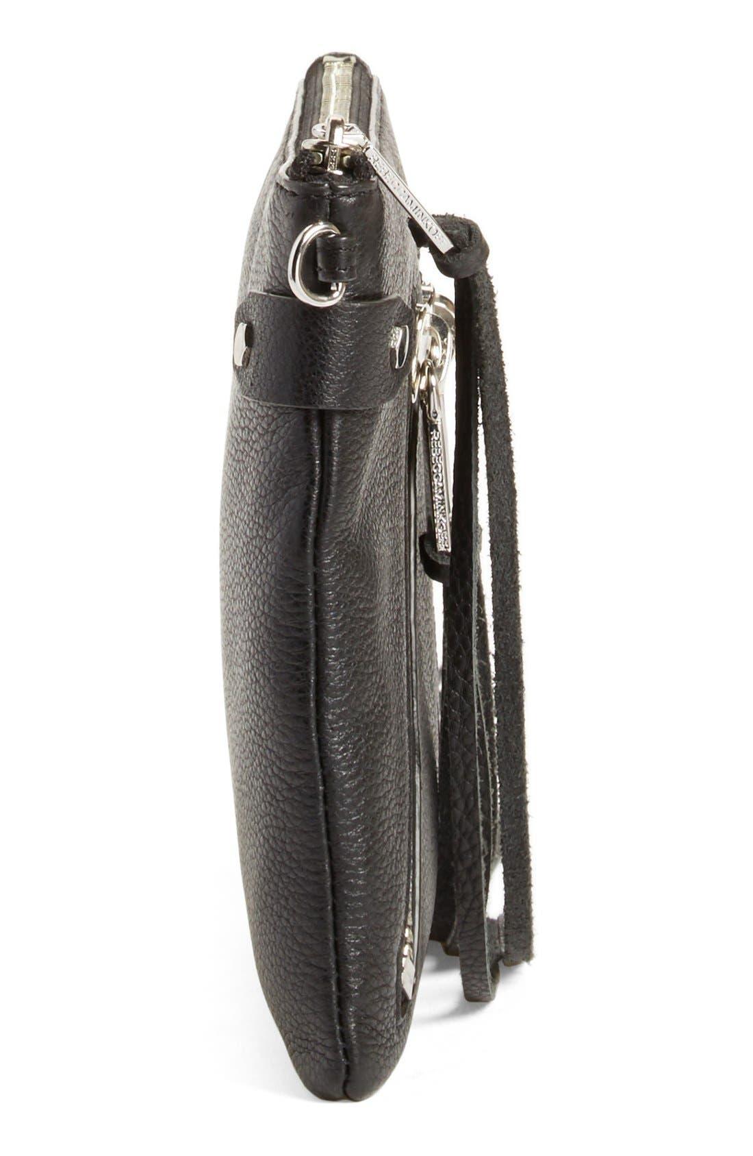 'Moto Jon' Leather Crossbody Bag,                             Alternate thumbnail 3, color,                             001