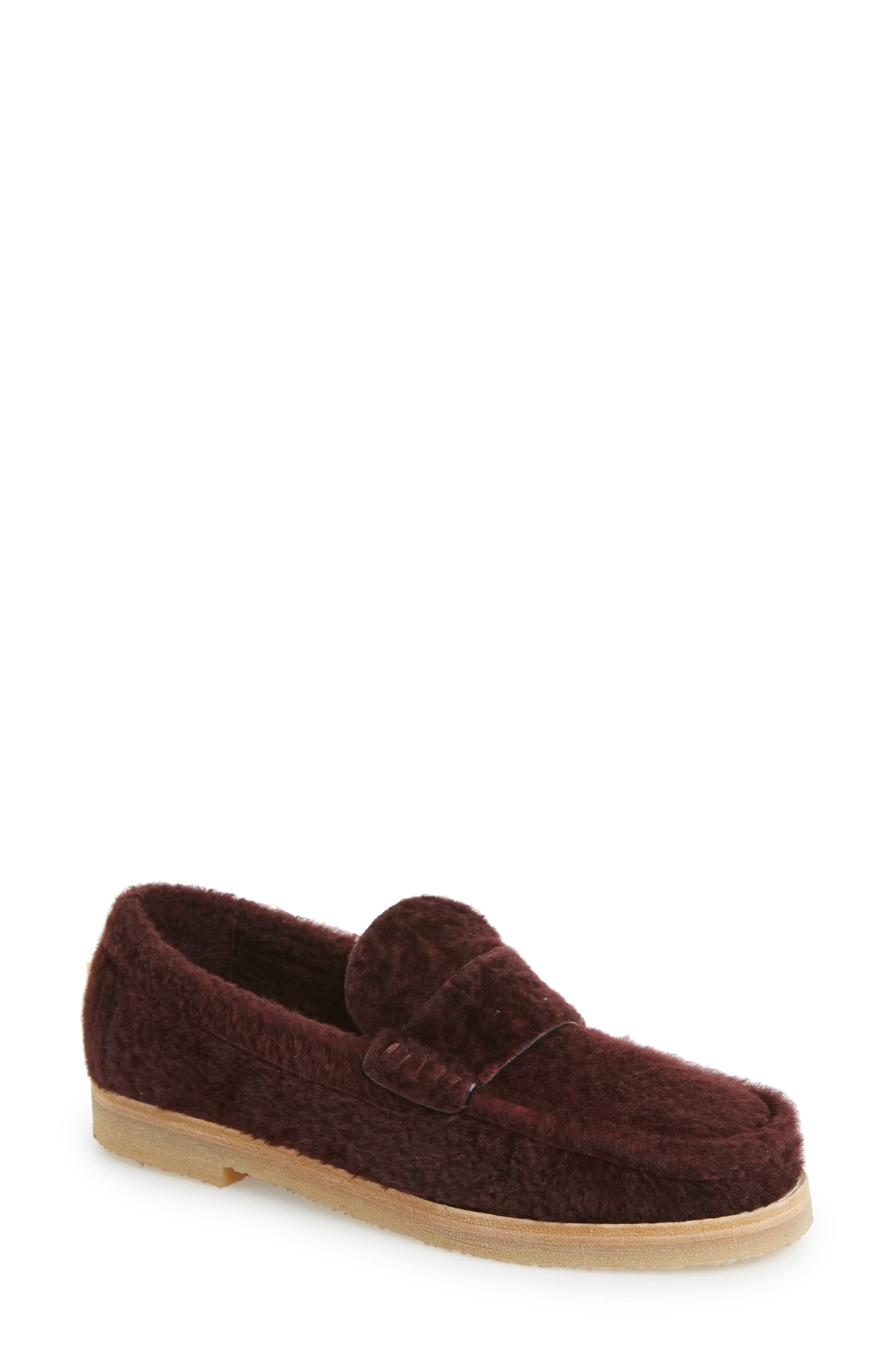 Stuart Weitzman Bromley Genuine Shearling Loafer, Red