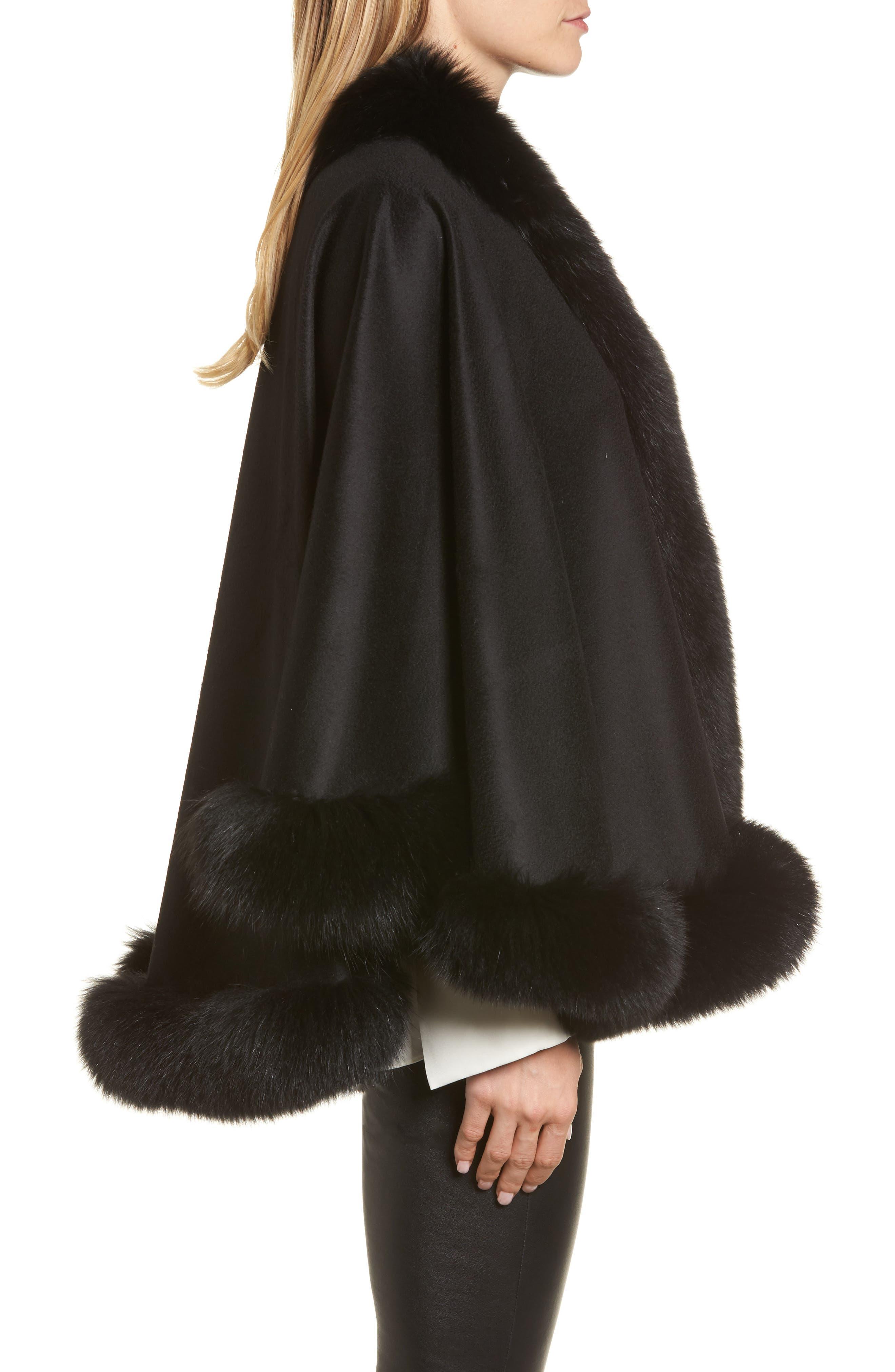 Genuine Fox Fur Trim Short Cashmere Cape,                             Alternate thumbnail 9, color,