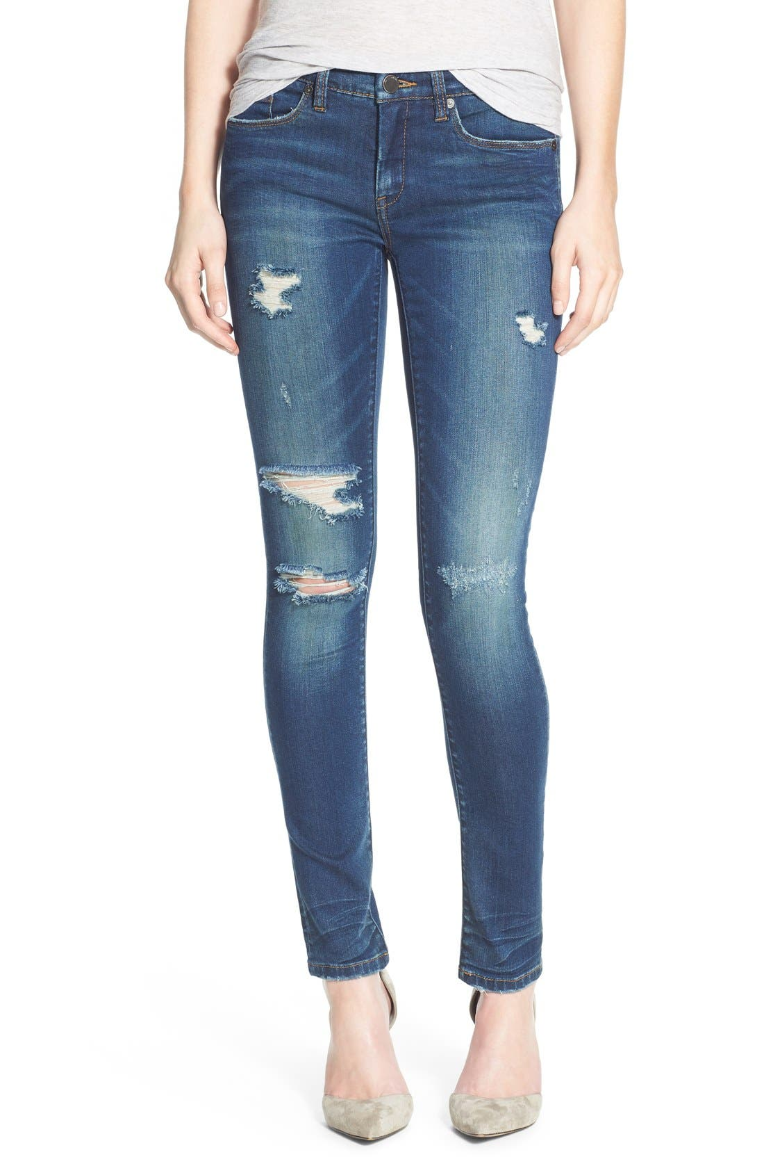 'Instagirl' Distressed Skinny Jeans,                             Main thumbnail 1, color,