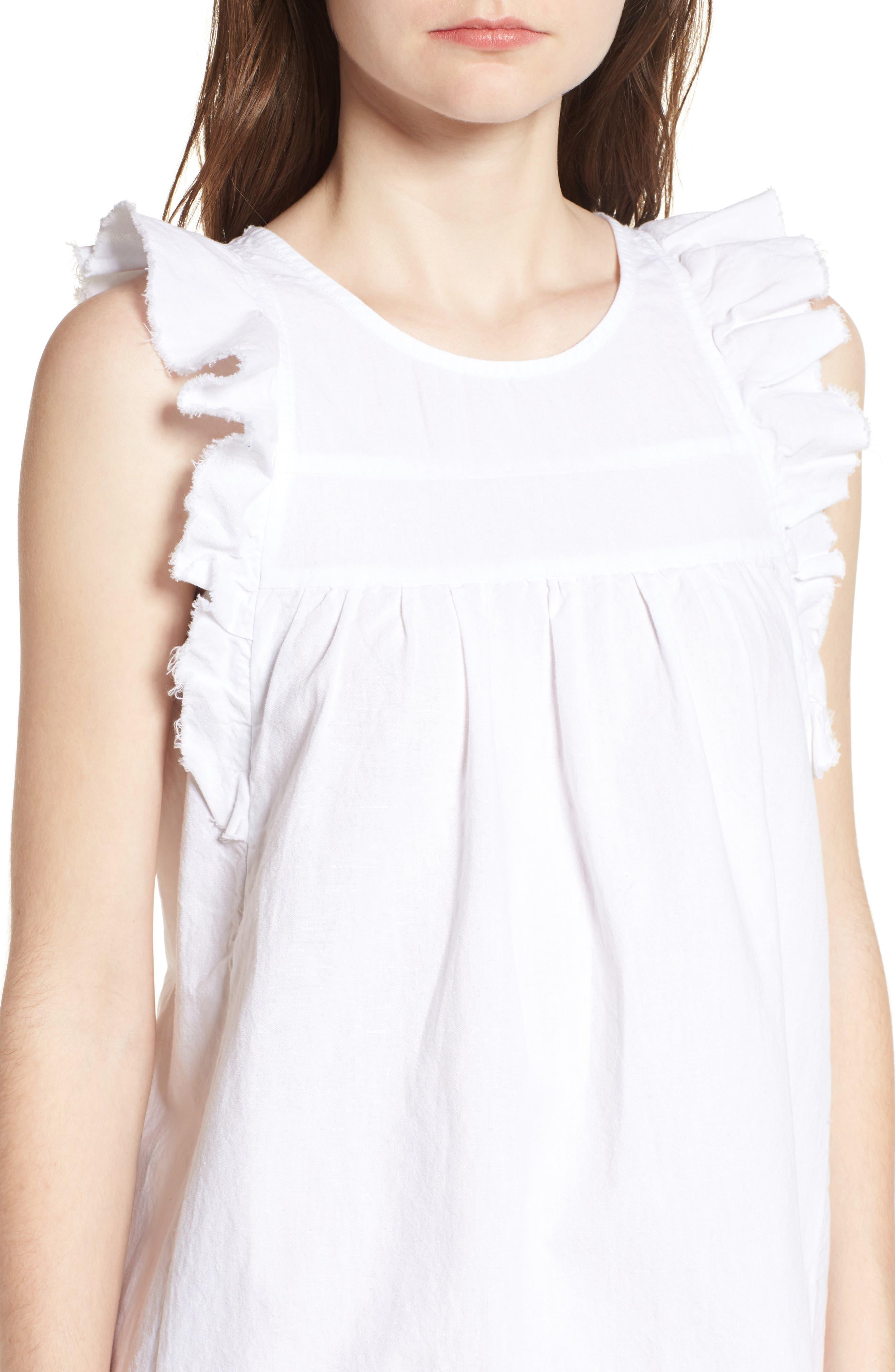Jennifer Ruffle Babydoll Dress,                             Alternate thumbnail 4, color,                             TRUE WHITE