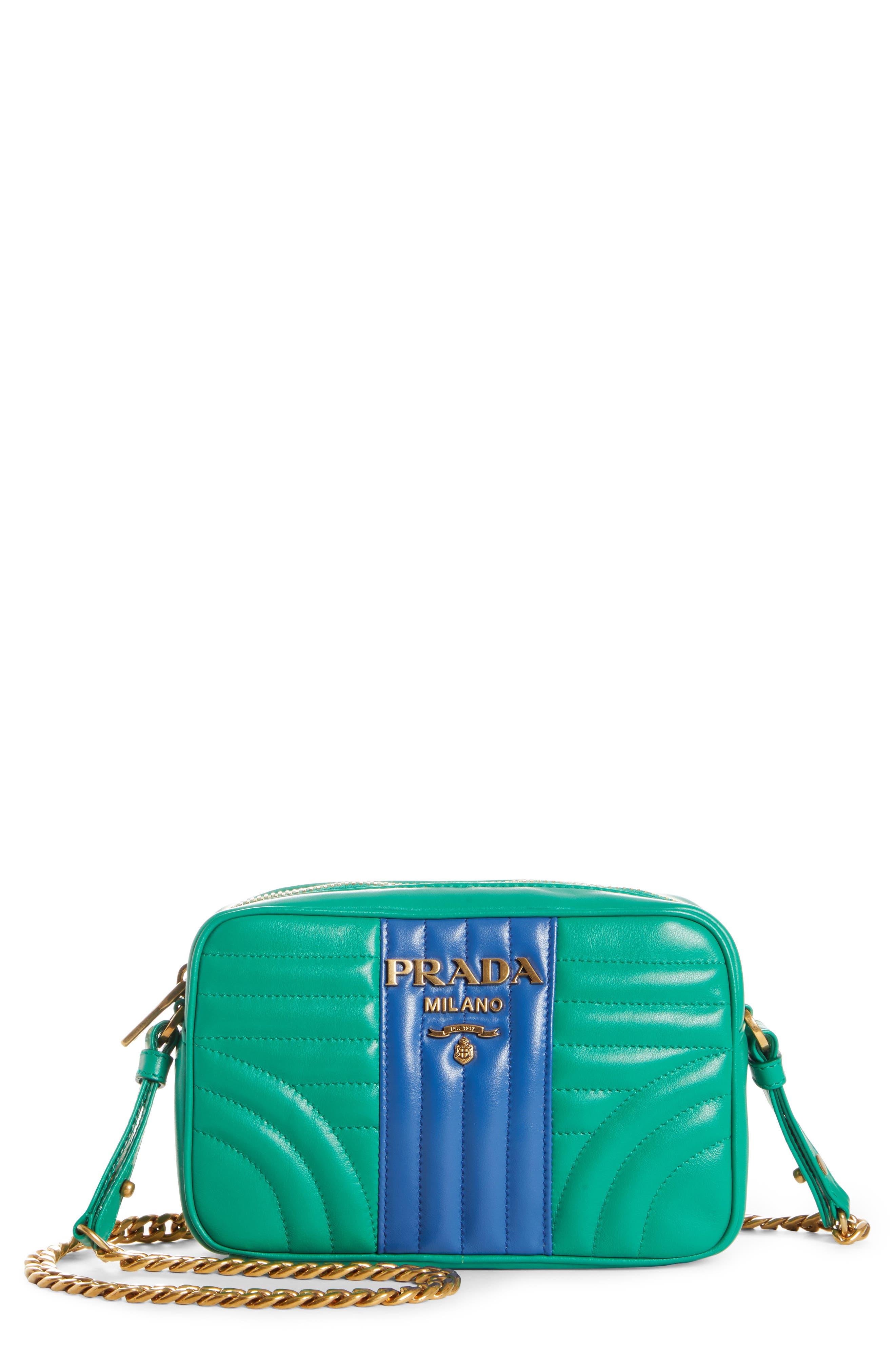 PRADA Diagrammed Colorblock Leather Camera Bag, Main, color, MANGO/ AZZURRO