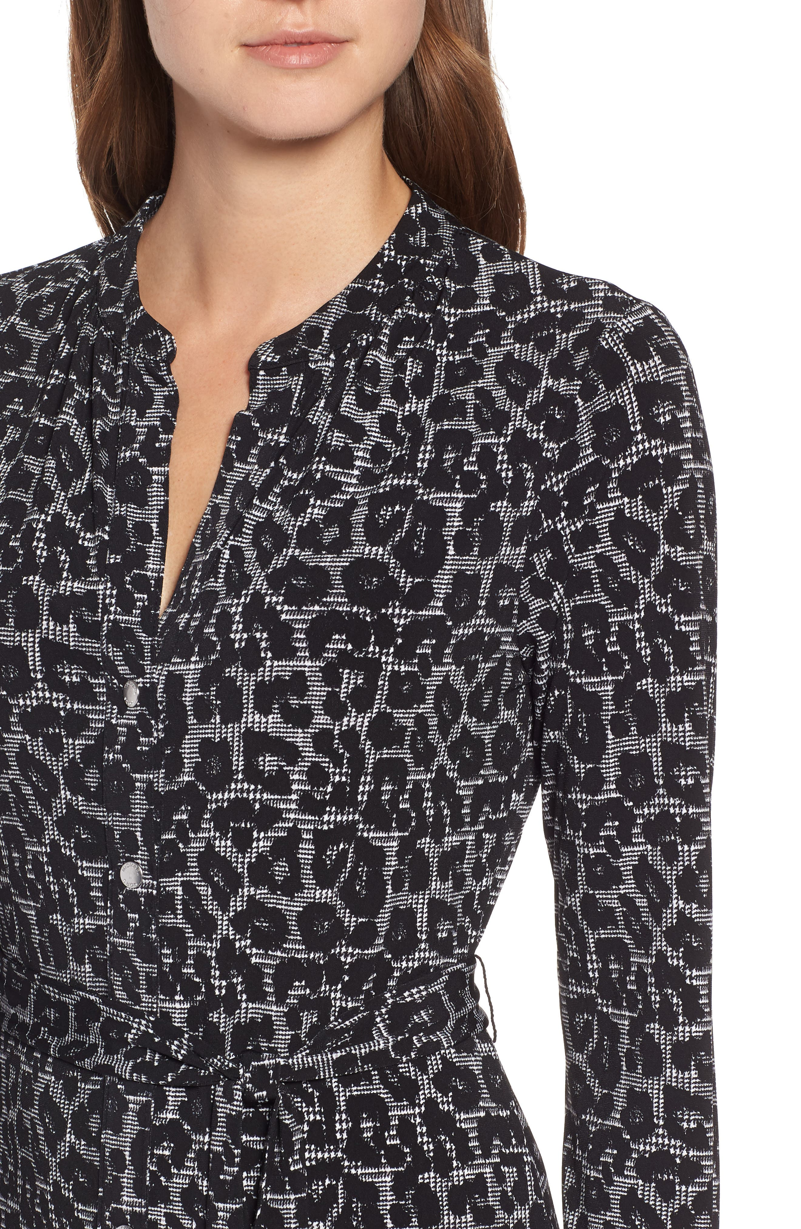 MICHAEL Michael Kors Leopard Plaid Shirtdress,                             Alternate thumbnail 4, color,                             001