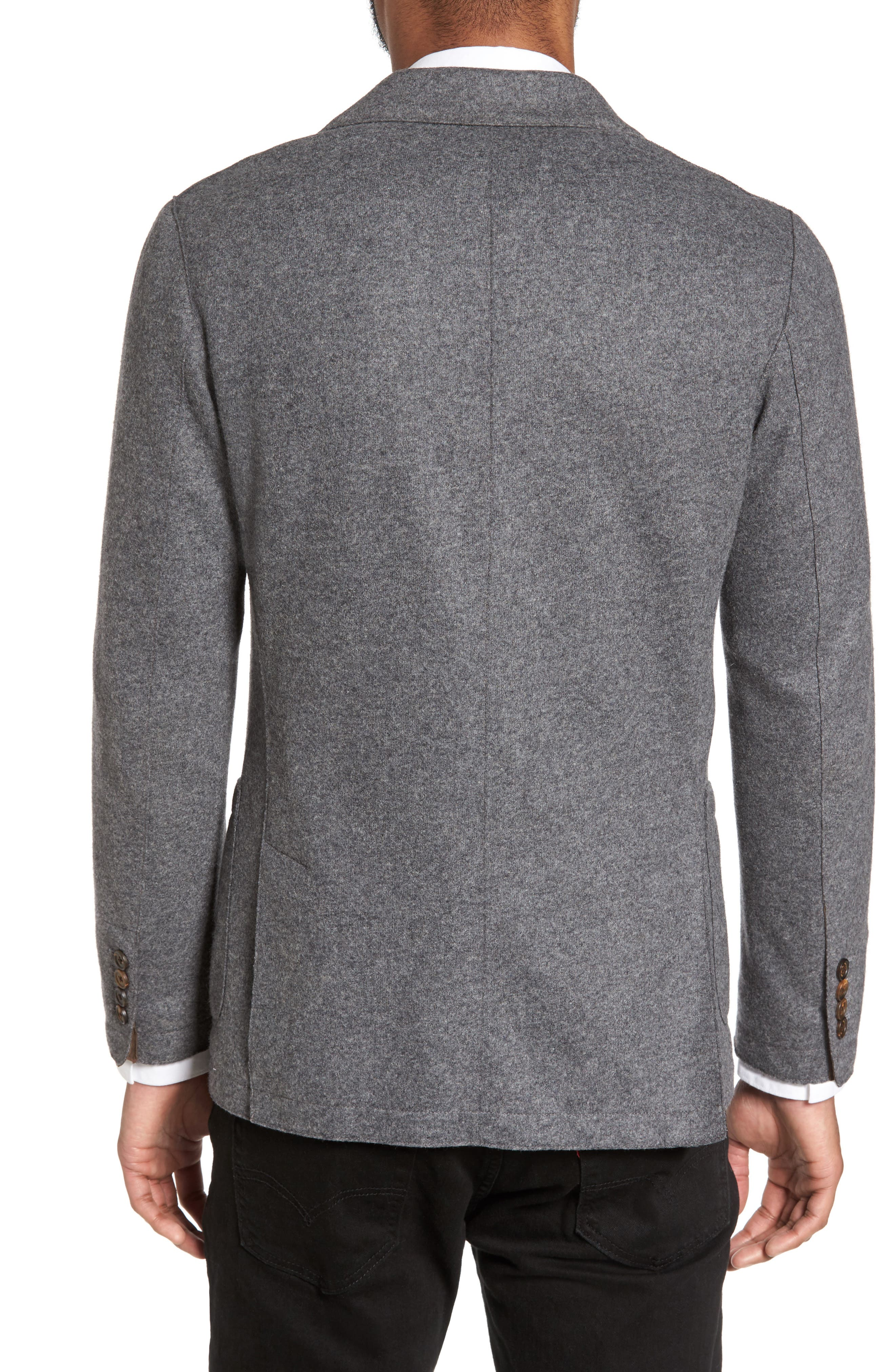 Wool Blend Blazer,                             Alternate thumbnail 2, color,                             SMOKE GREY MELANGE