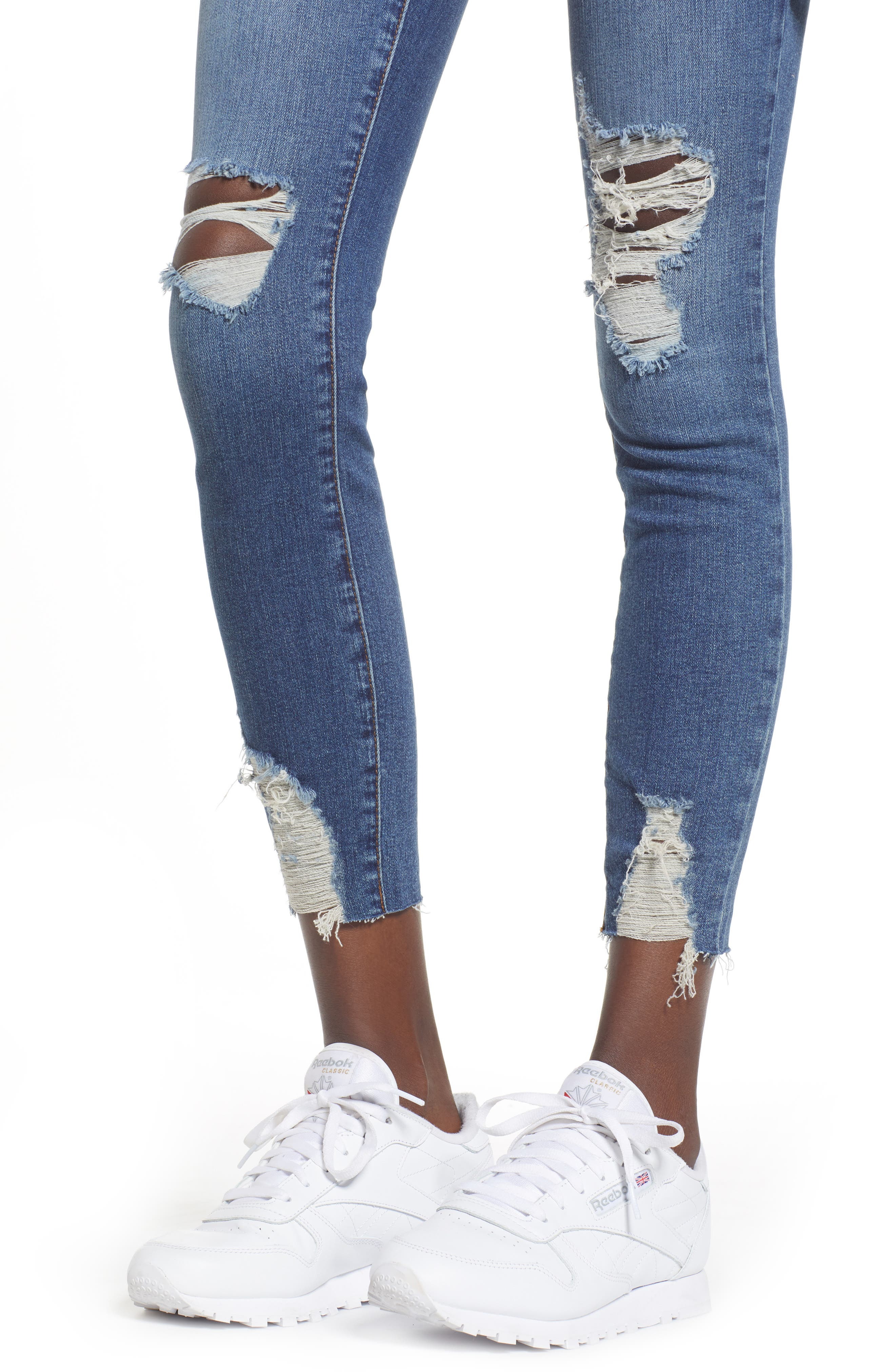Ripped Skinny Jeans,                             Alternate thumbnail 4, color,                             DARK VINTAGE WASH