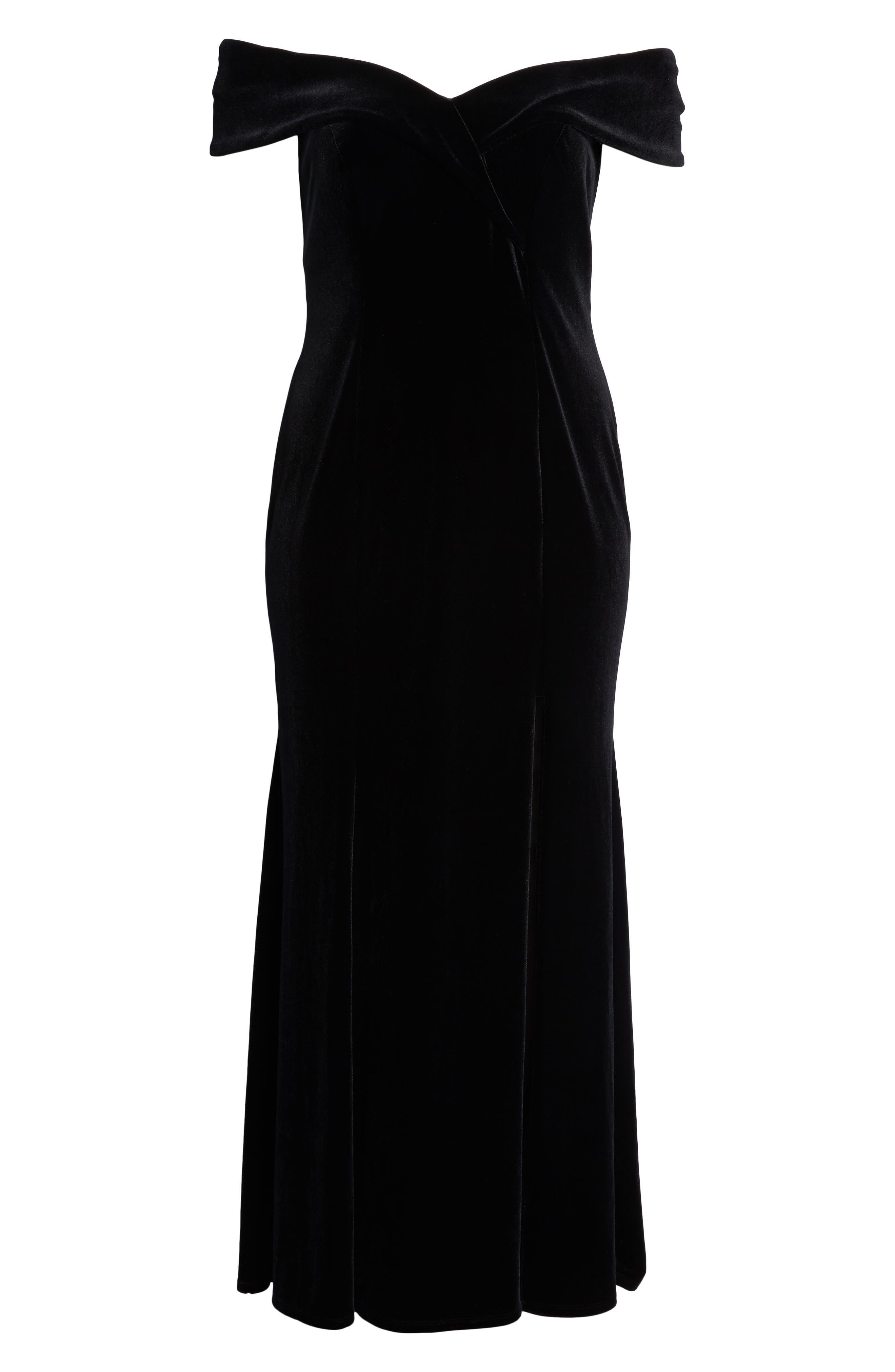Off the Shoulder Velvet Gown,                             Alternate thumbnail 7, color,                             BLACK