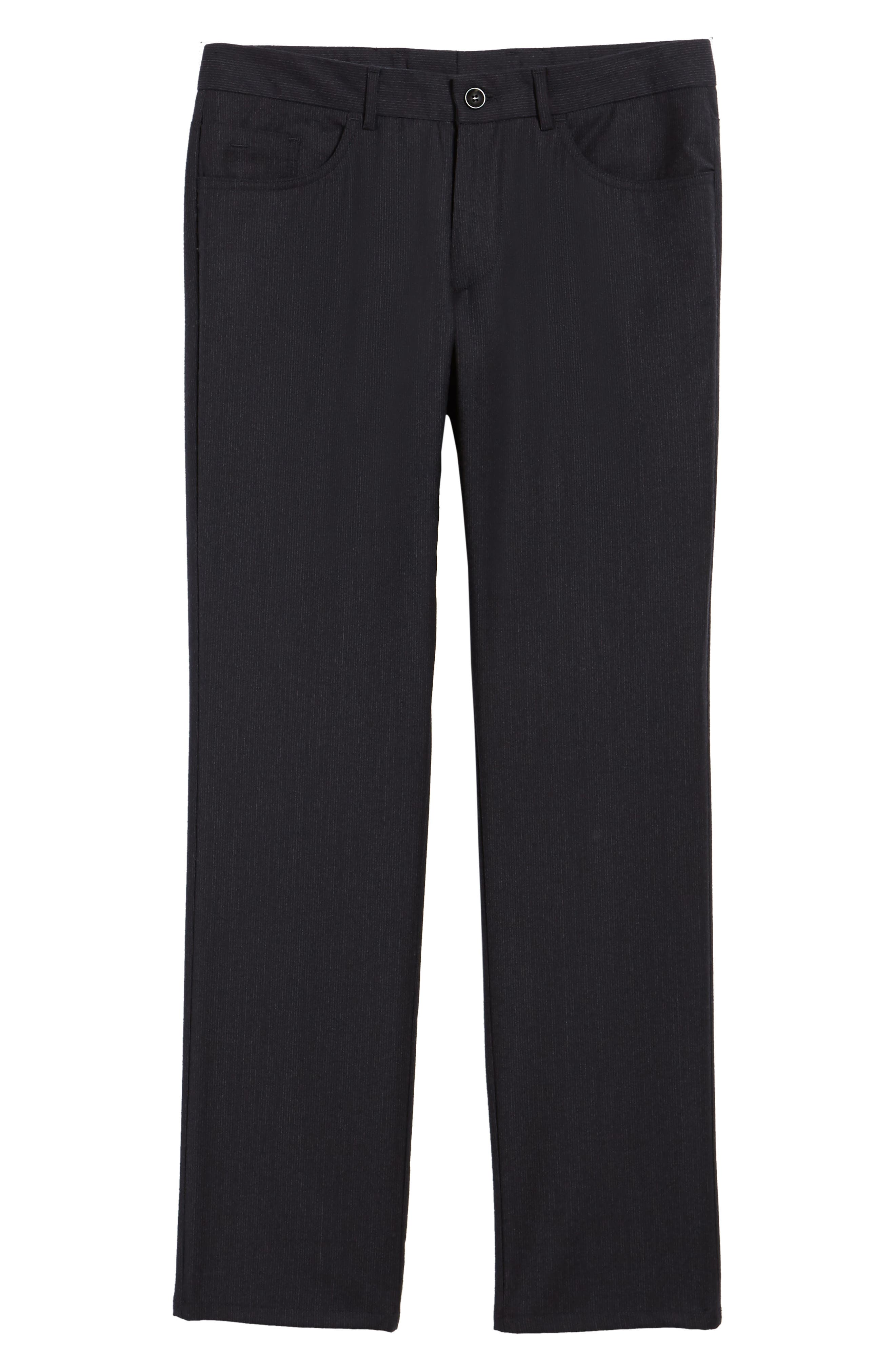 Flat Front Stripe Stretch Wool Trousers,                             Alternate thumbnail 12, color,