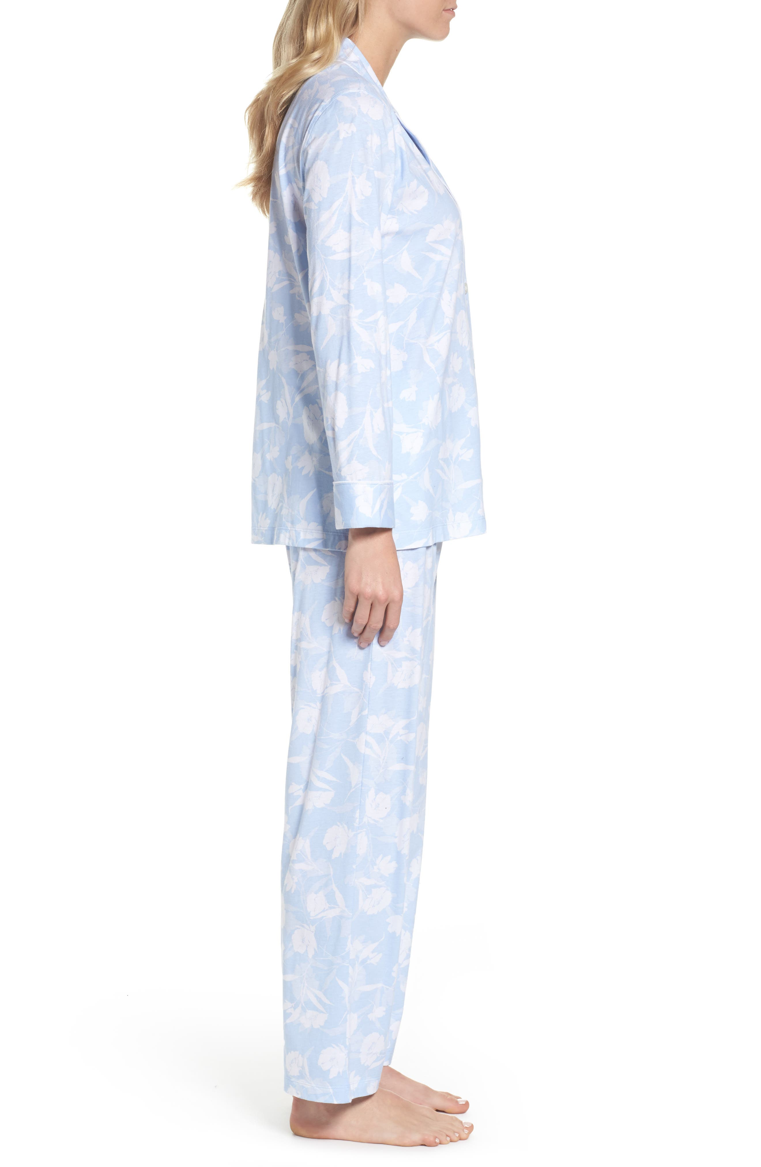 Floral Print Jersey Pajamas,                             Alternate thumbnail 3, color,                             472