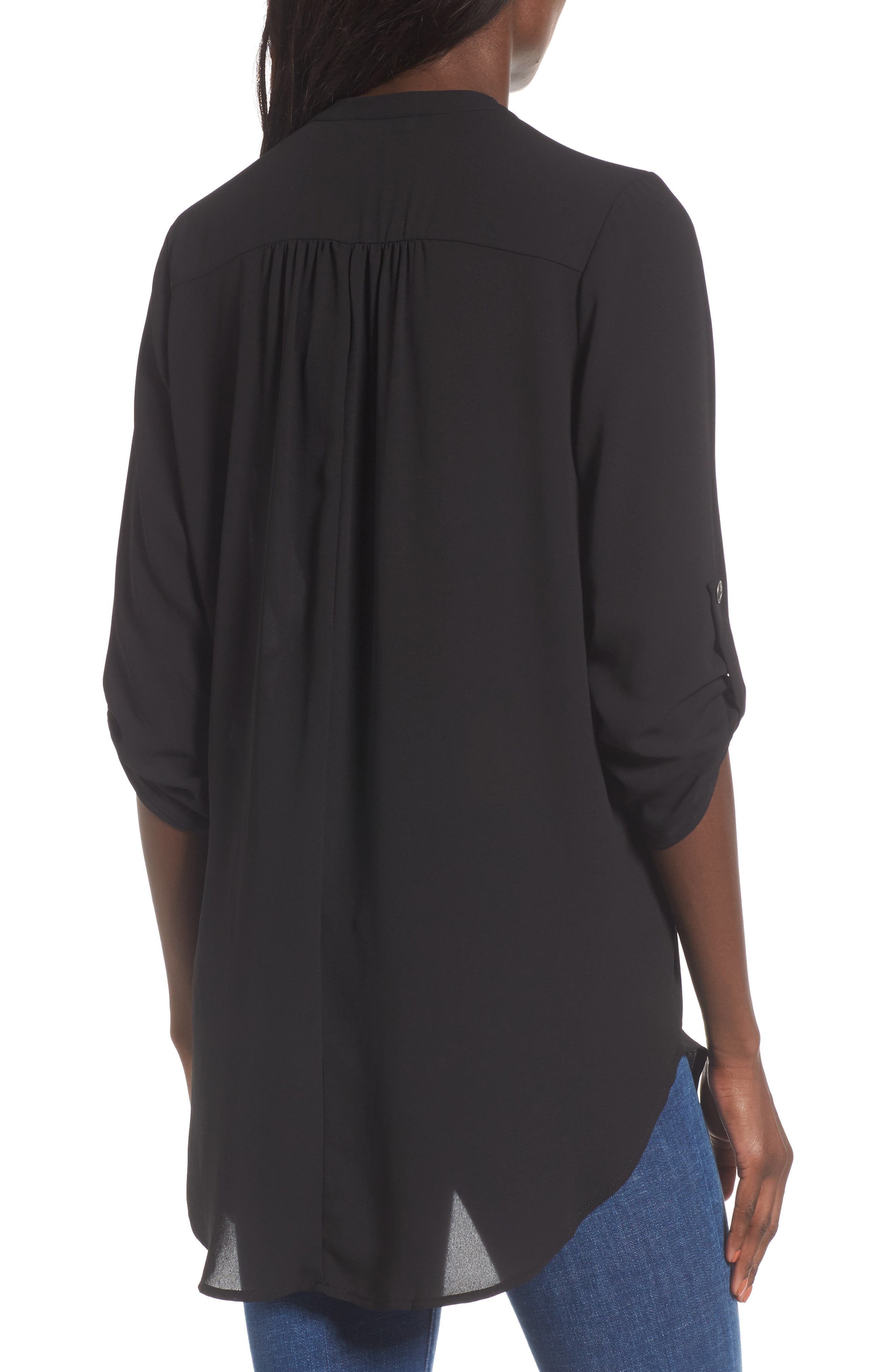 Perfect Roll Tab Sleeve Tunic,                             Alternate thumbnail 2, color,                             BLACK