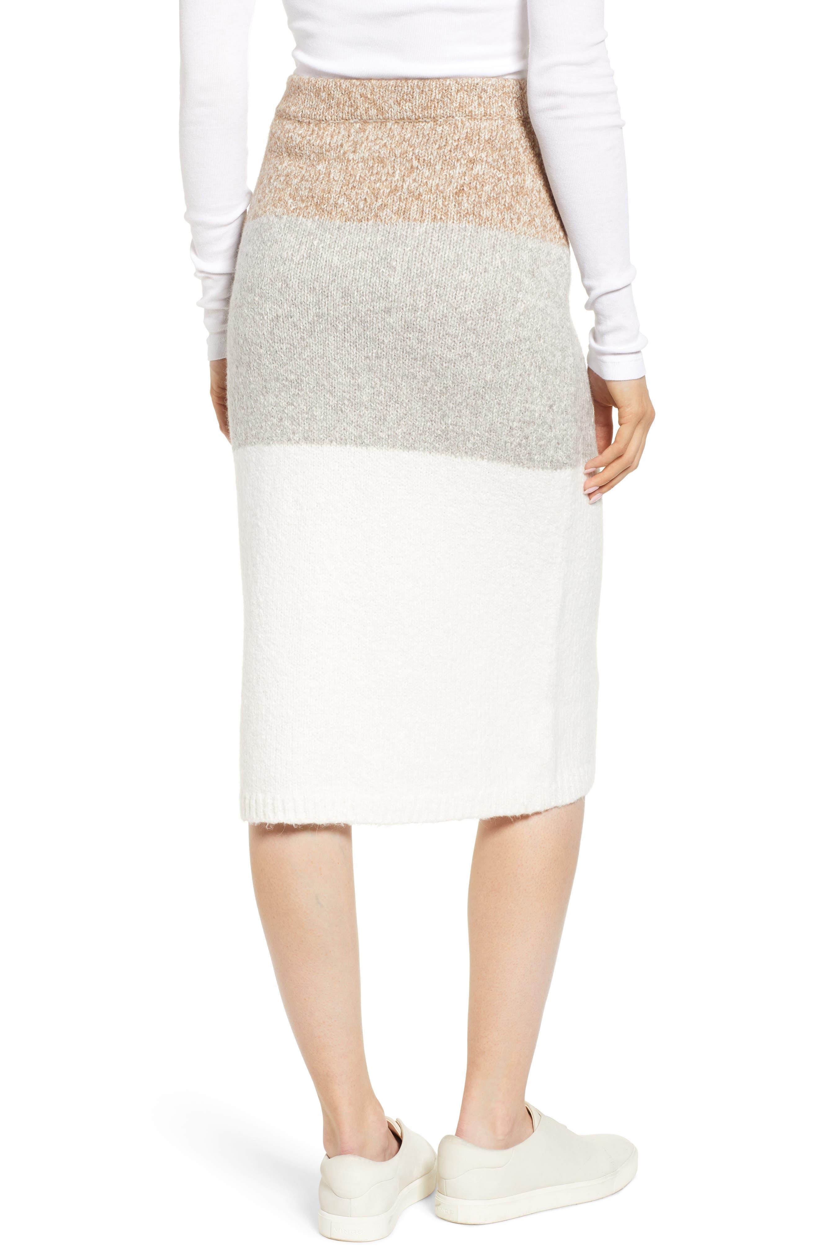 LOU & GREY,                             Stripemarl Sweater Skirt,                             Alternate thumbnail 2, color,                             IVORY