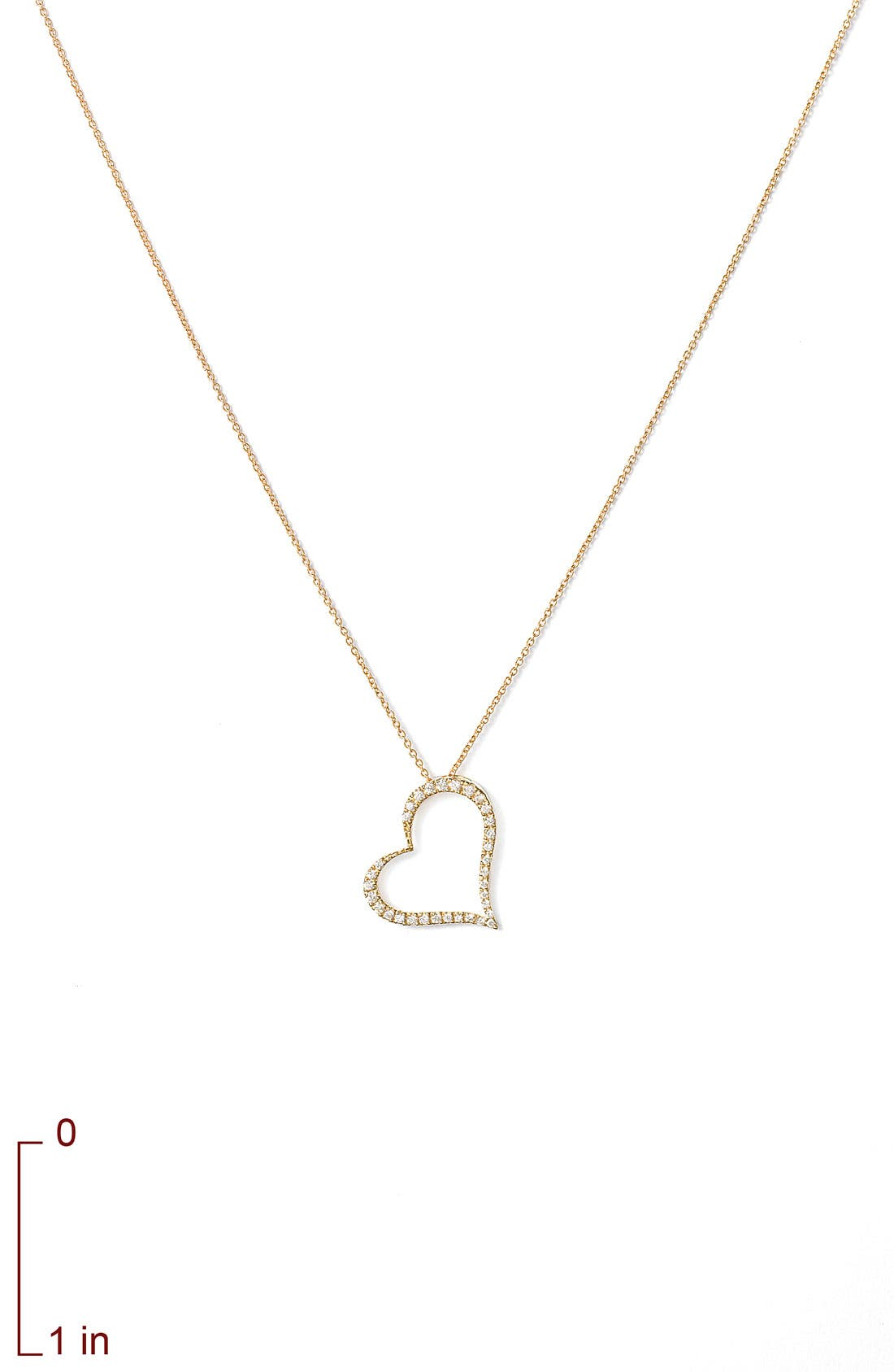 ROBERTO COIN,                             Slanted Diamond Heart Pendant Necklace,                             Alternate thumbnail 4, color,                             710