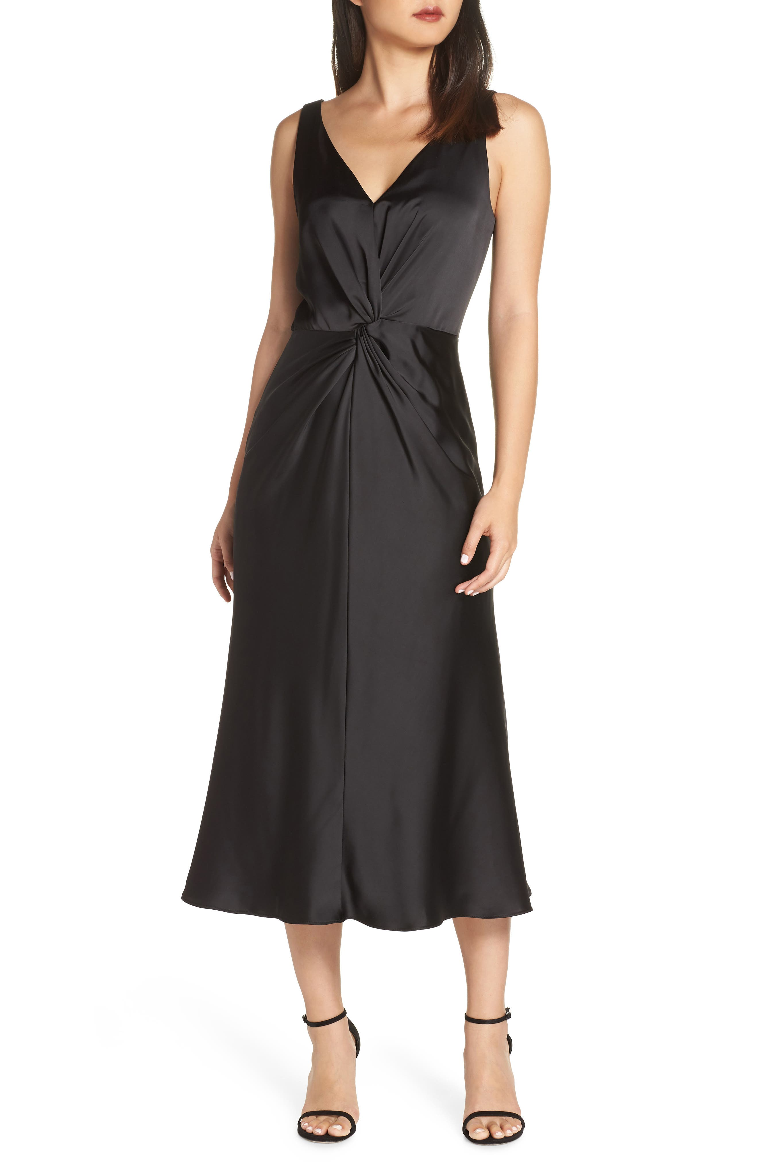 MAGGY LONDON Knot Front Satin Dress in Black