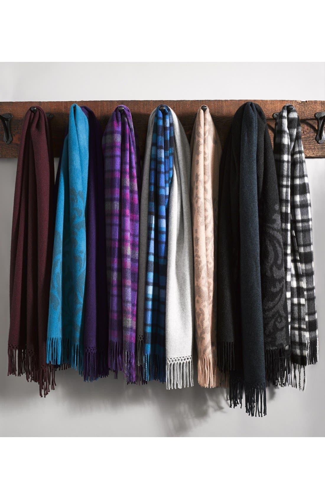 NORDSTROM,                             Woven Cashmere Wrap,                             Alternate thumbnail 3, color,                             001