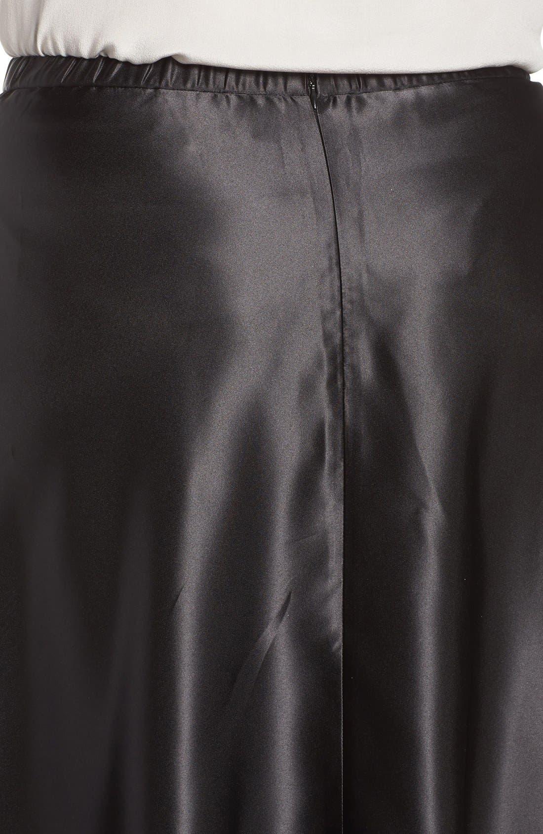 Satin Long Circle Skirt,                             Alternate thumbnail 5, color,                             001