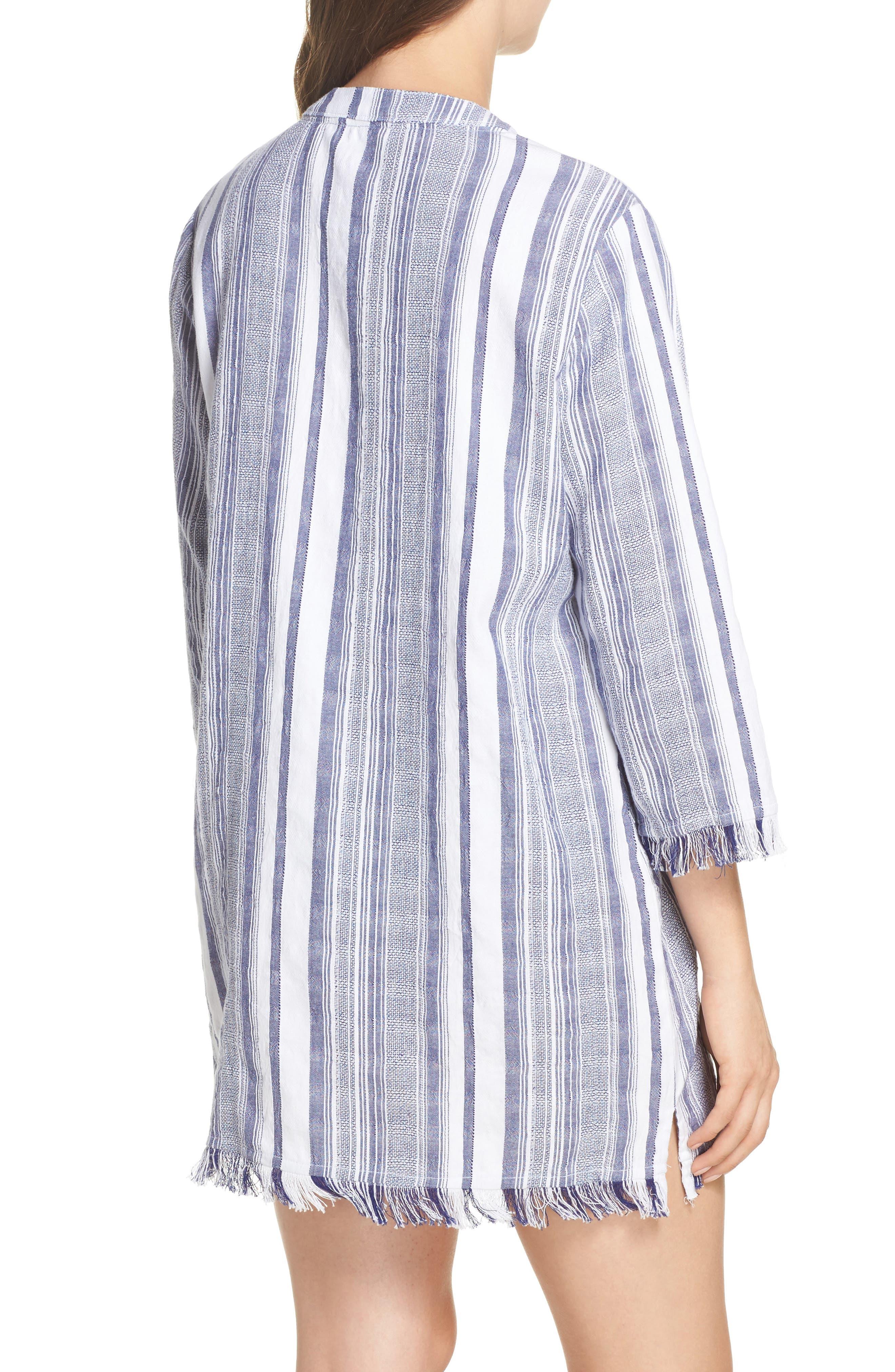 Yarn Dye Stripe Cover-Up Tunic,                             Alternate thumbnail 2, color,                             100