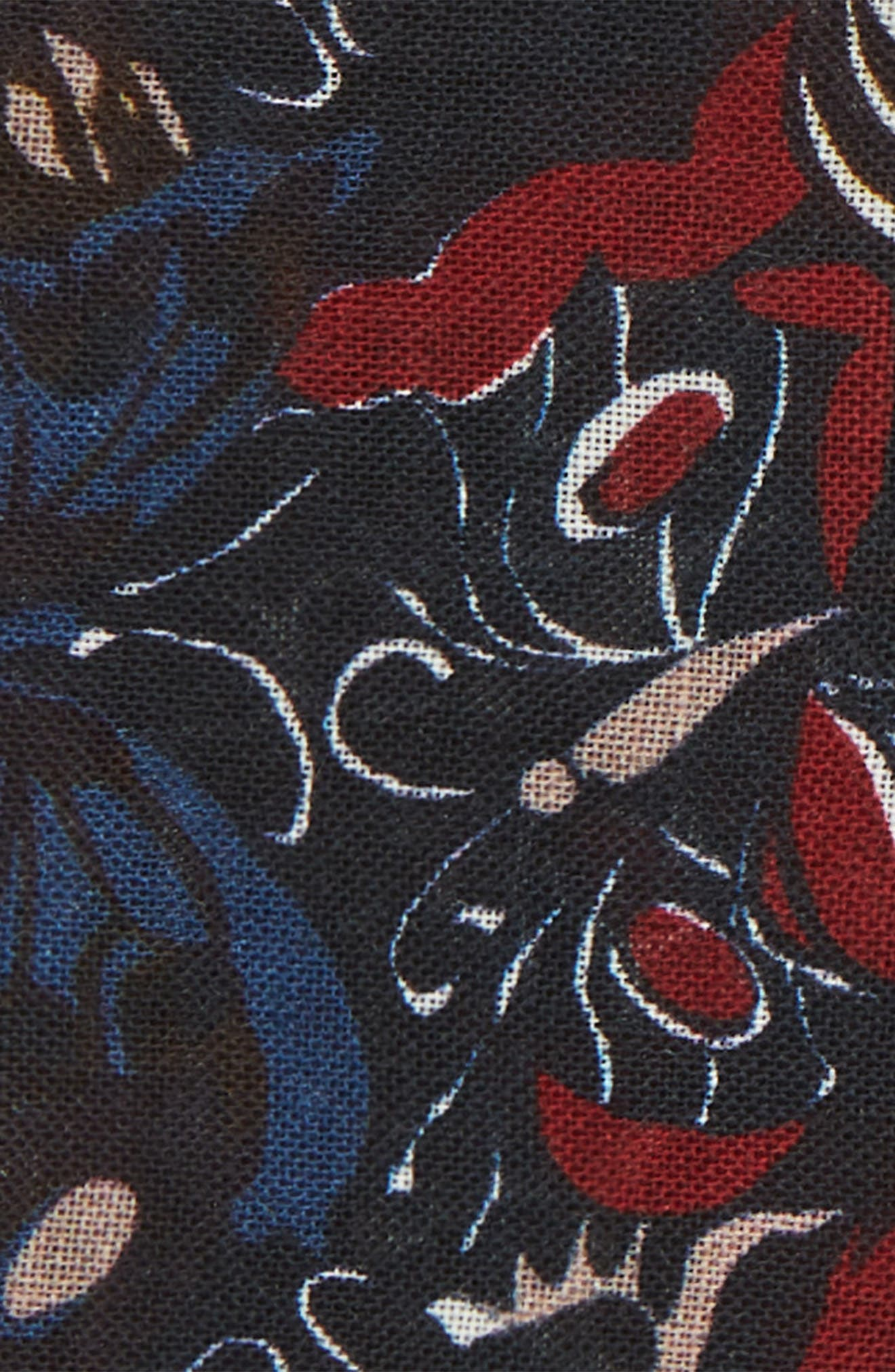 Butterfly Print Wool Pocket Square,                             Alternate thumbnail 3, color,                             BUTTERFLY NIGHT