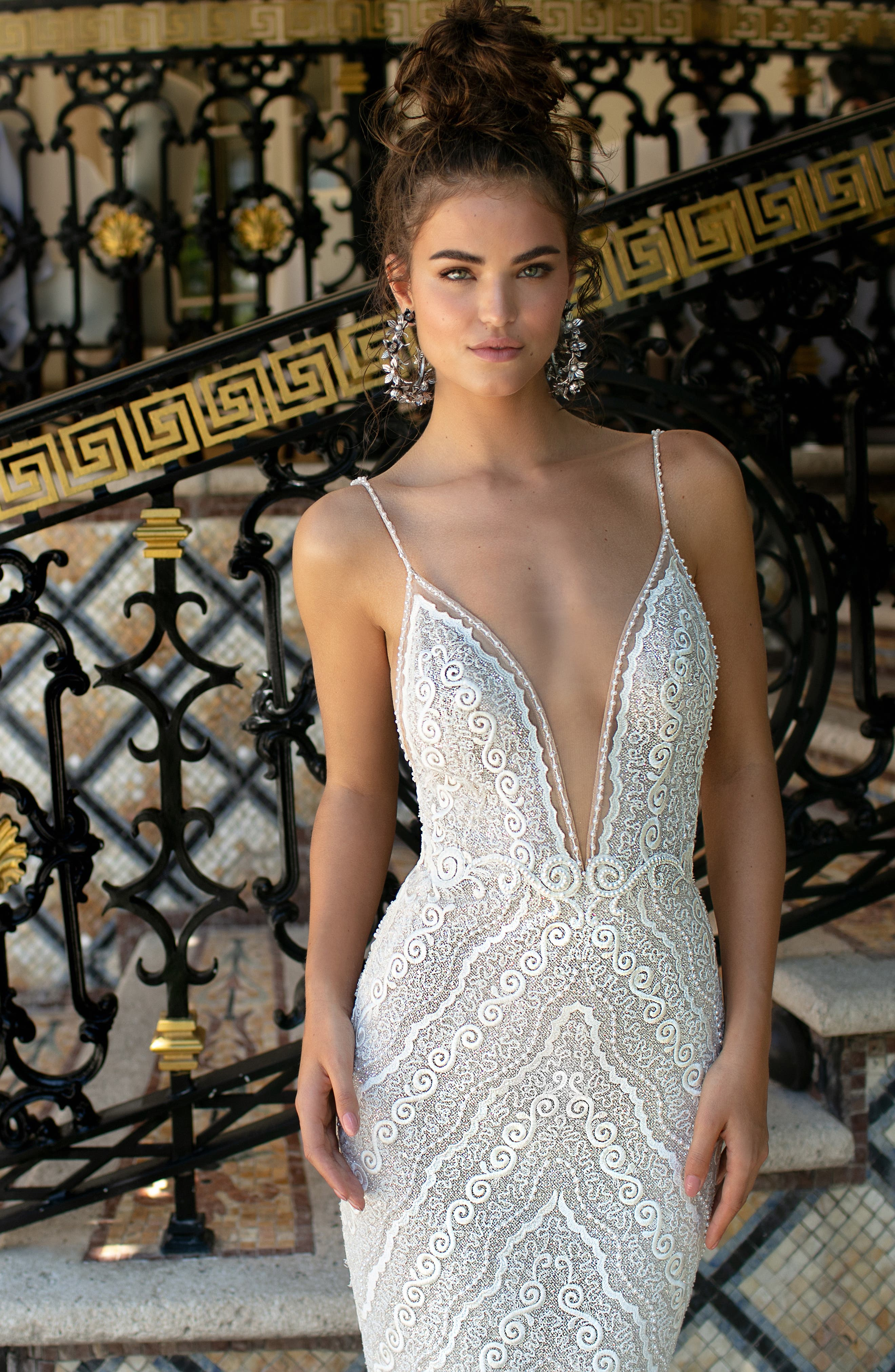 Beaded Strap Embroidered Trumpet Gown,                             Alternate thumbnail 3, color,                             IVORY