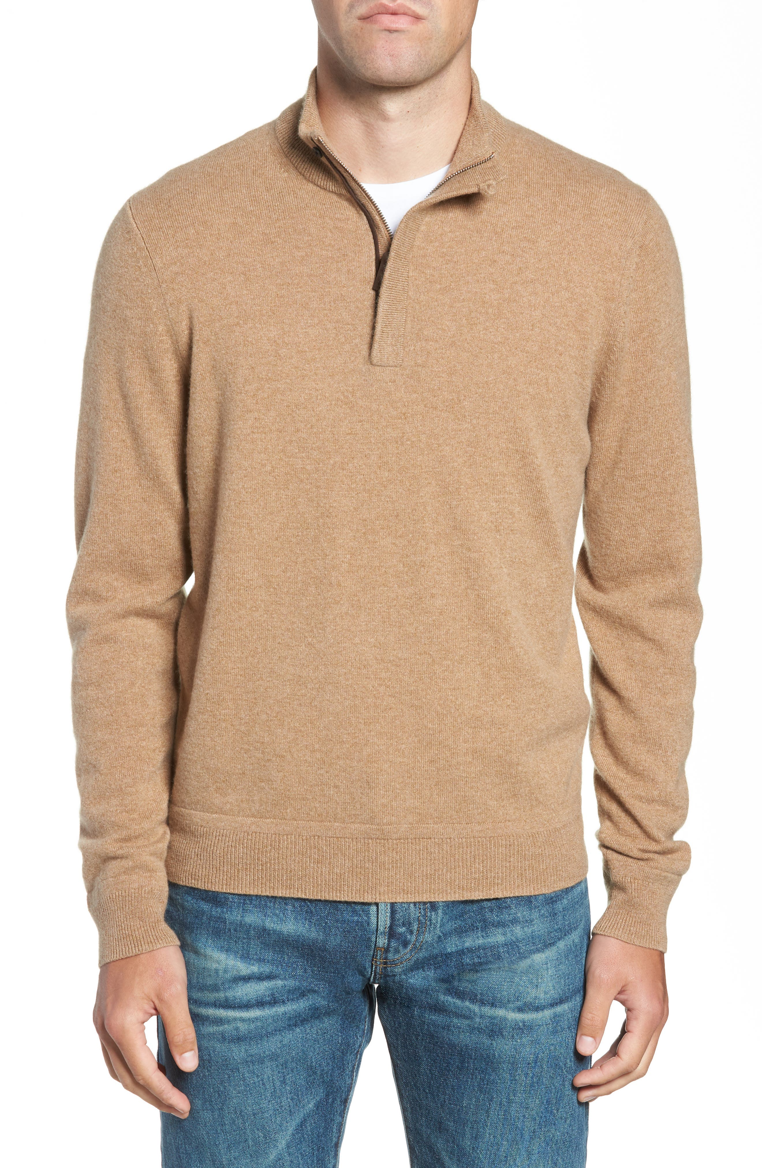 Regular Fit Quarter Zip Cashmere Sweater,                             Main thumbnail 1, color,                             BROWN BEAR