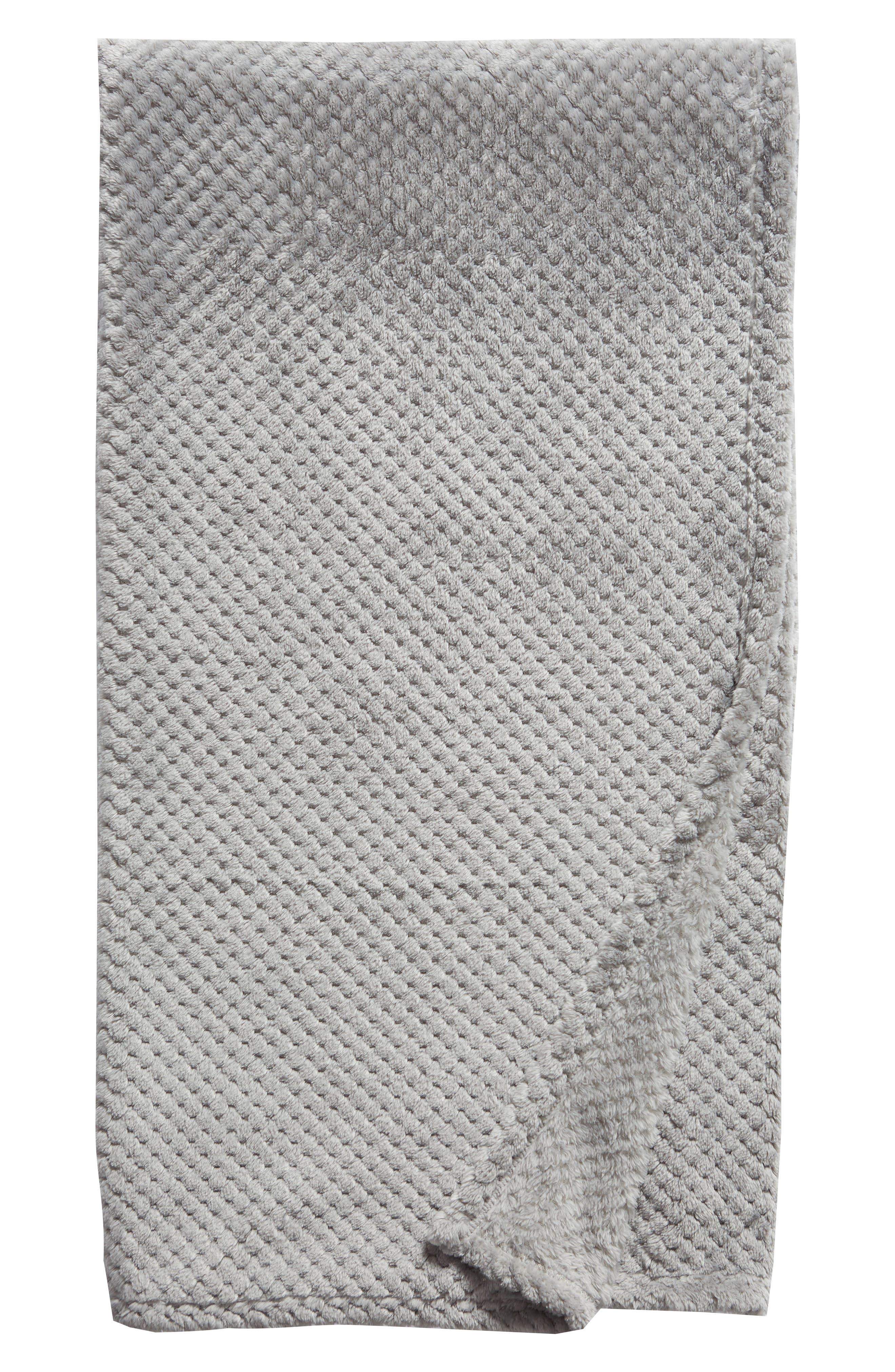 Waffle Plush Throw Blanket,                             Main thumbnail 1, color,                             GREY FROST