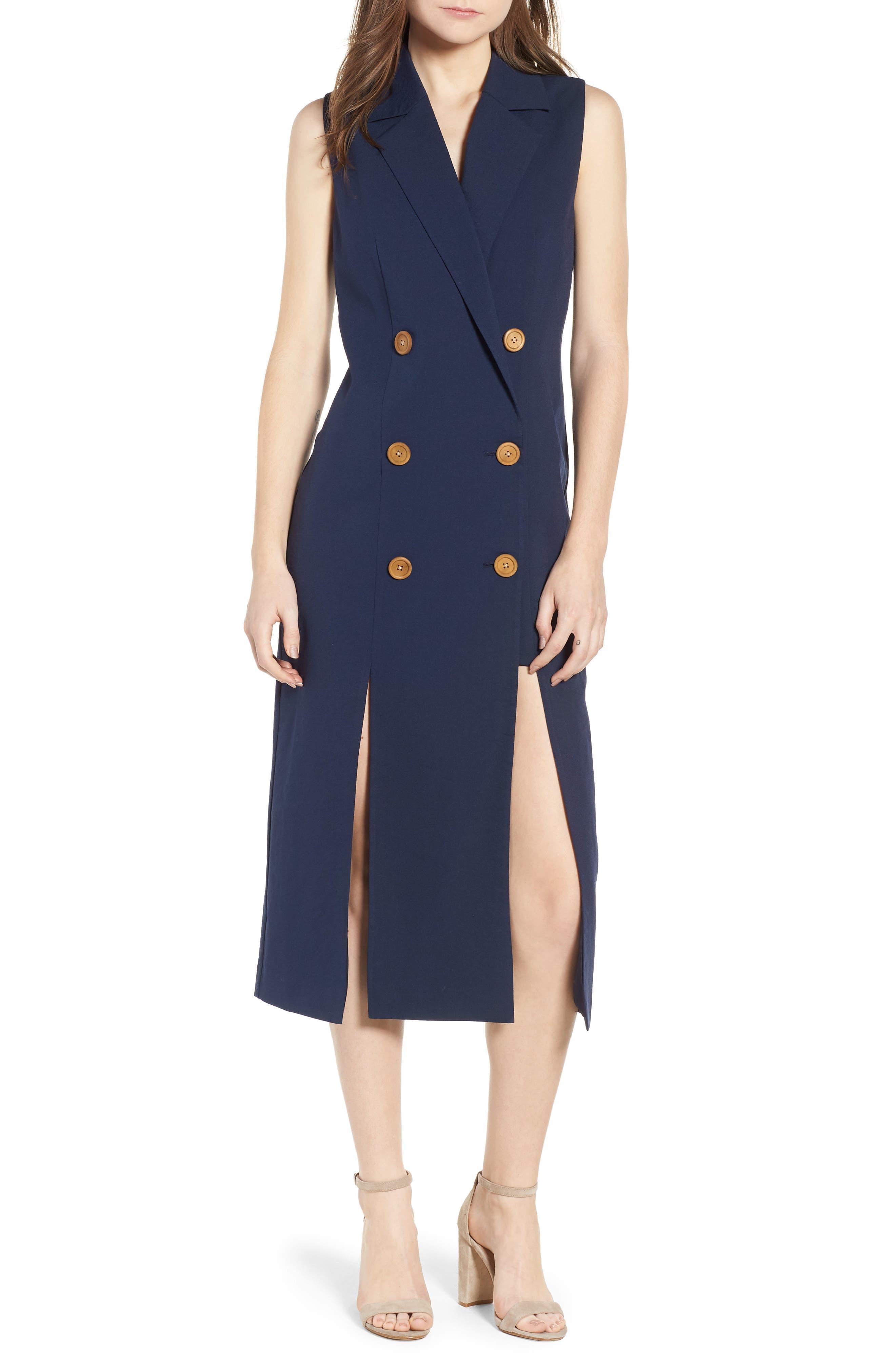 Brigitte Midi Dress,                             Main thumbnail 1, color,                             NAVY
