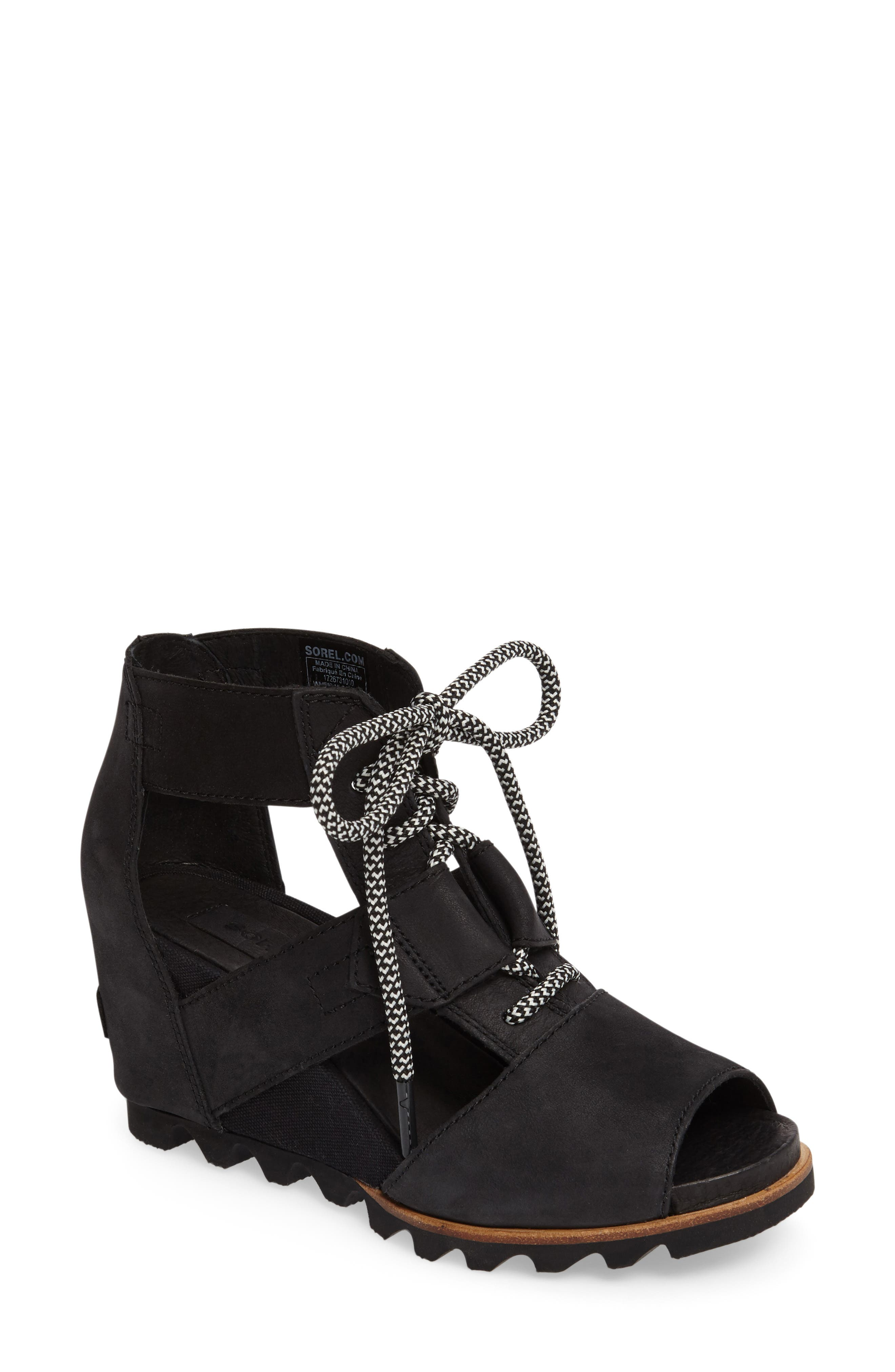 'Joanie' Cage Sandal,                         Main,                         color, BLACK/ SEA SALT
